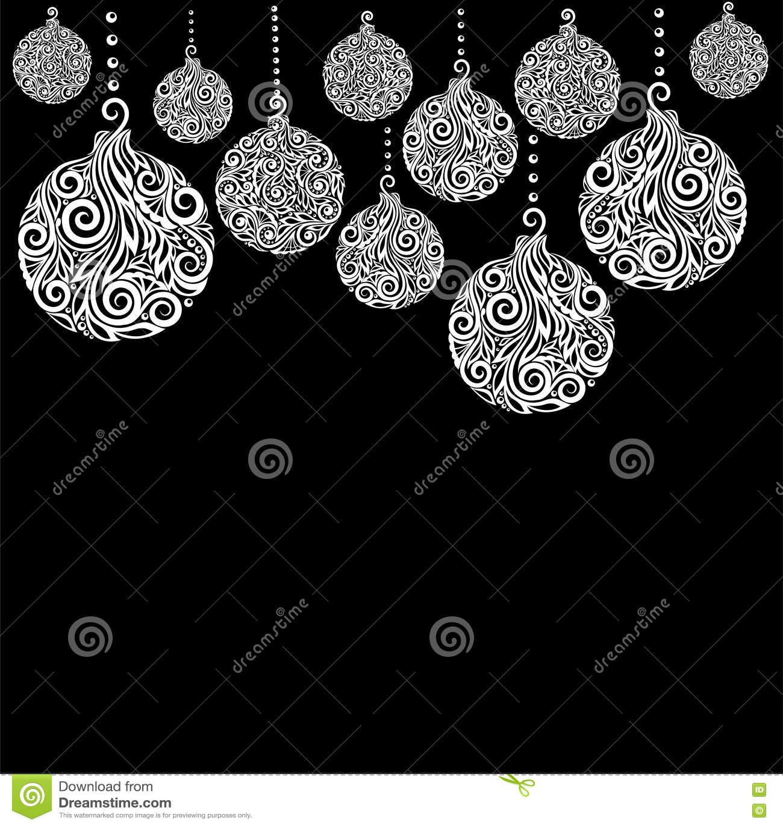beau fond noir et blanc de no l avec accrocher de boules. Black Bedroom Furniture Sets. Home Design Ideas
