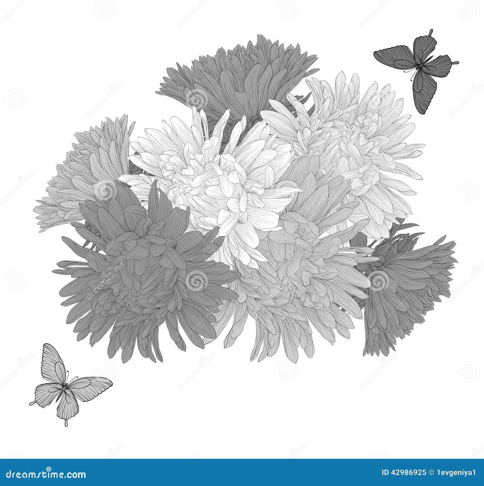 beau fond noir et blanc monochrome avec des fleurs et des. Black Bedroom Furniture Sets. Home Design Ideas