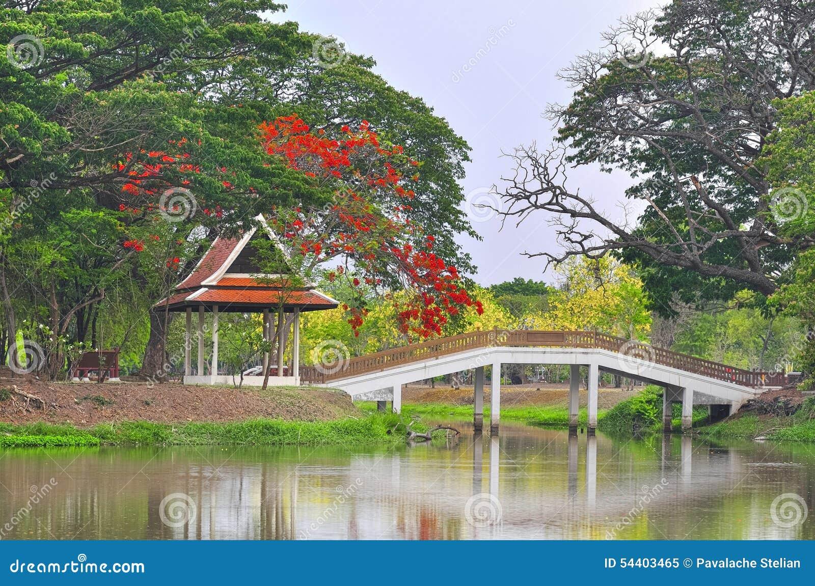 Beau jardin chinois avec le beau pont et les fleurs rouges for Le beau jardin restaurant