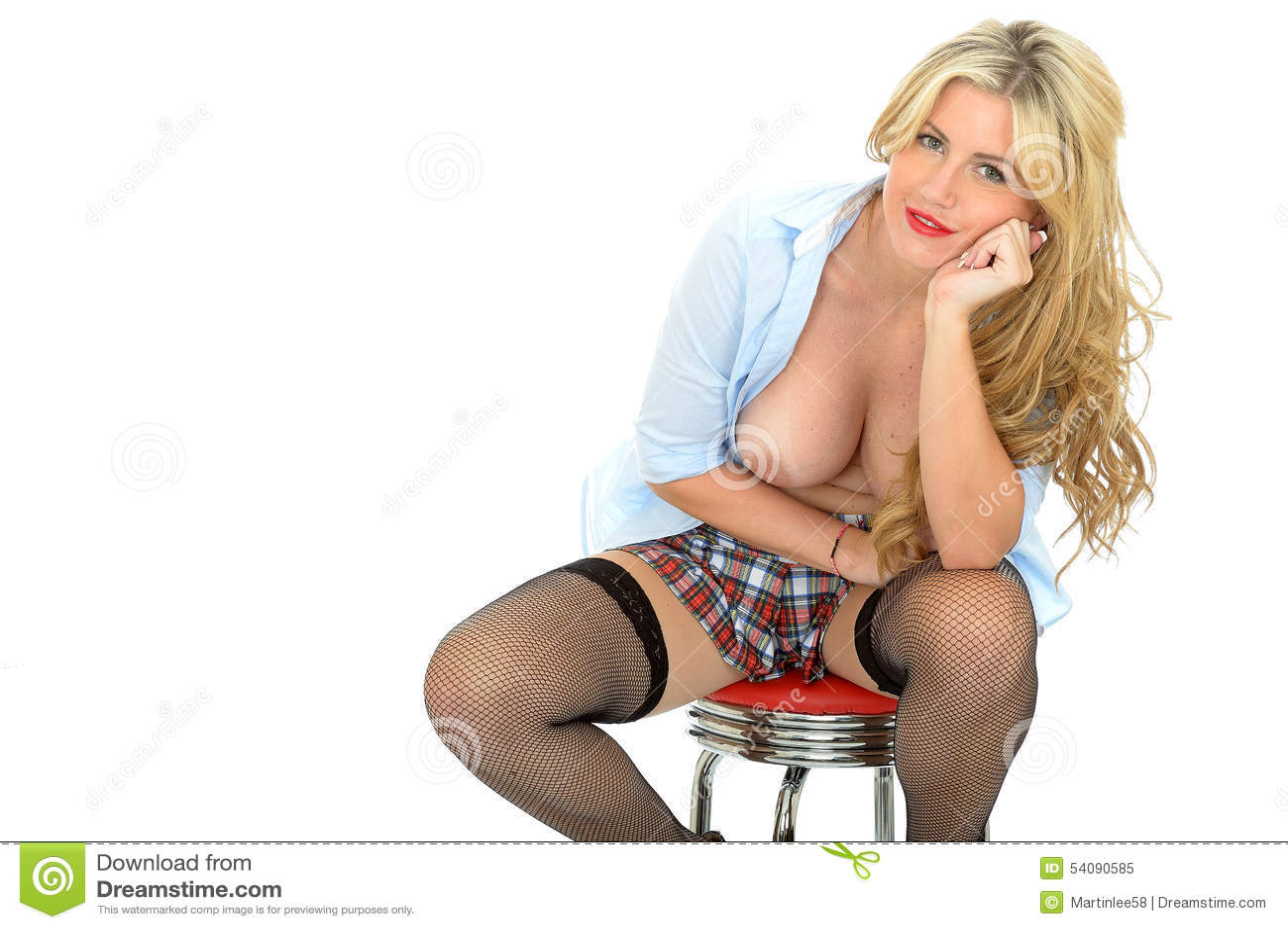 Beau jeune Pin Up Model Posing Topless blond classique coquet effronté sexy