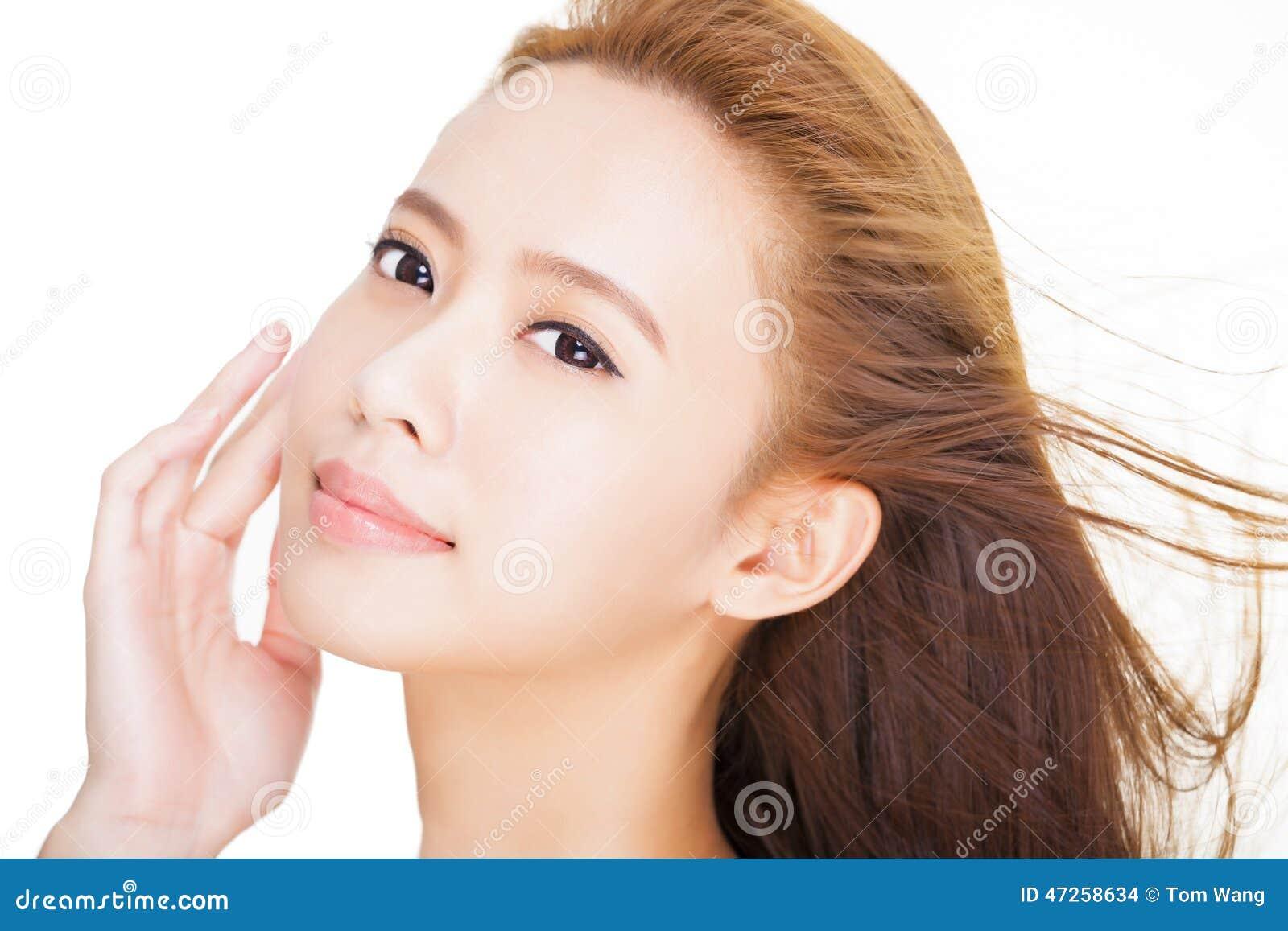 beau jeune visage asiatique de femme photo stock image 47258634. Black Bedroom Furniture Sets. Home Design Ideas