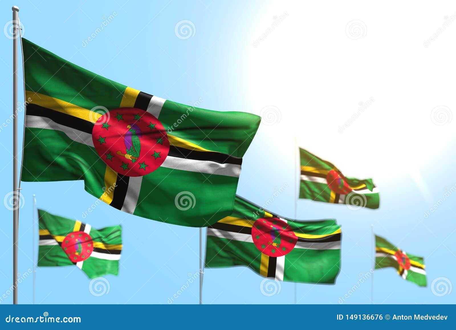 Beau jour d illustration du drapeau 3d - 5 drapeaux de la Dominique ondulent contre la photo de ciel bleu avec le foyer mou