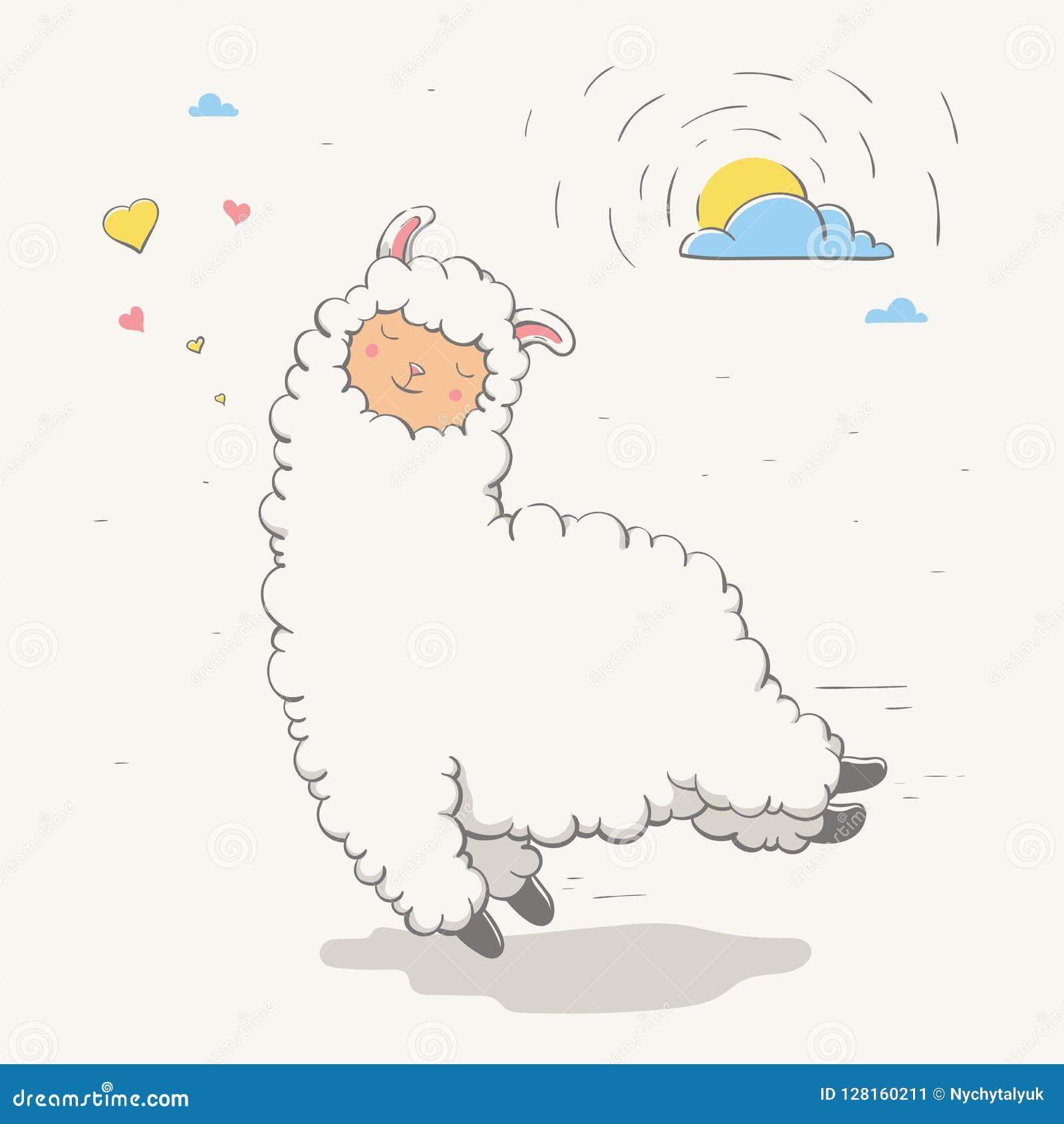 Beau lama/guanaco sautant mignon avec des coeurs et le soleil derrière un nuage Animal de bande dessinée d amour