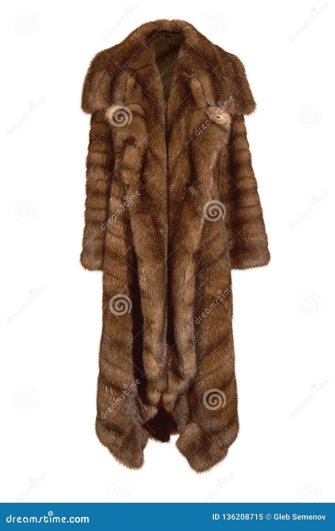 Beau long manteau de fourrure brun femelle, de la fourrure naturelle de vison d isolement sur le blanc