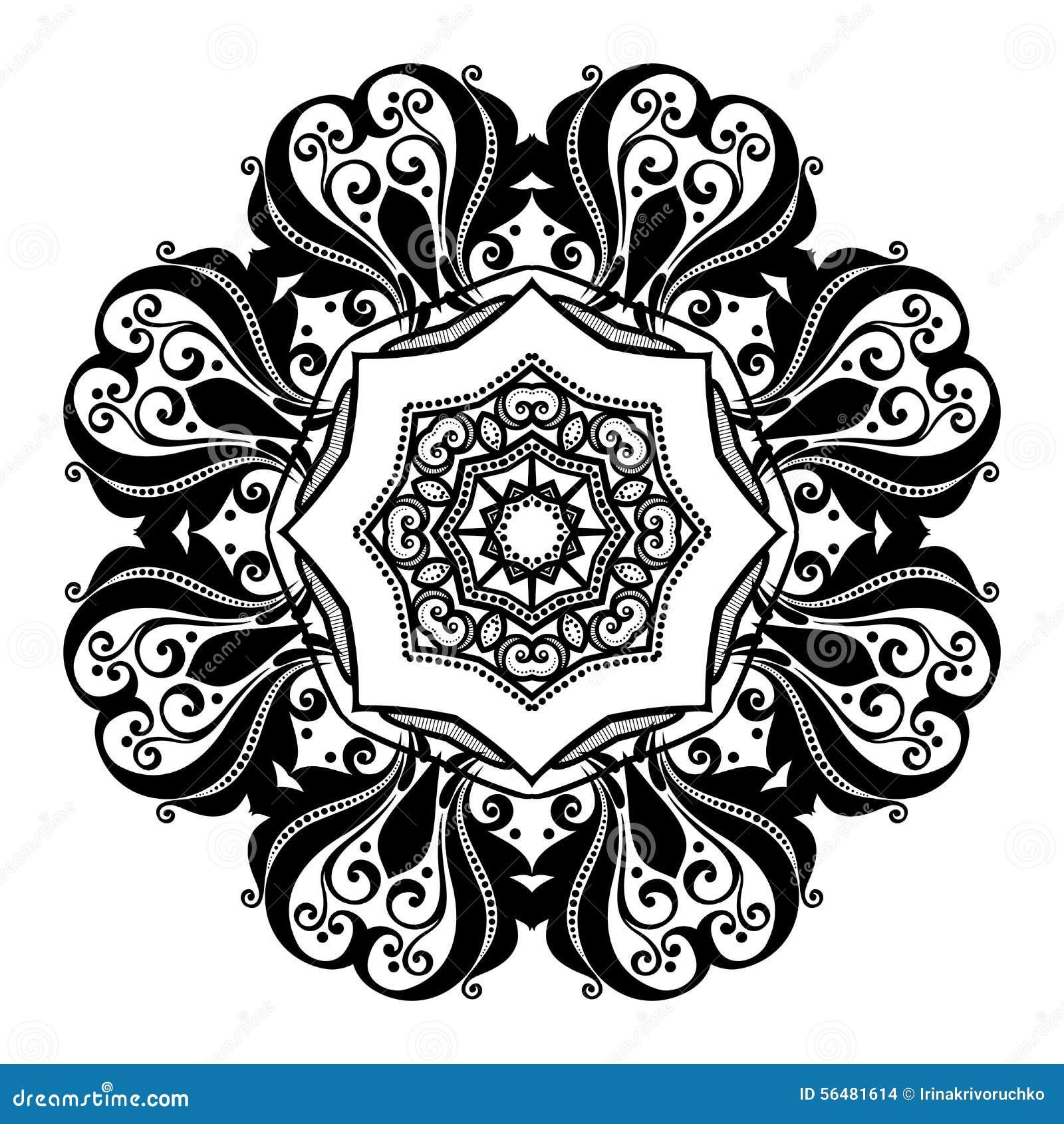 Beau mandala de noir de Deco de vecteur