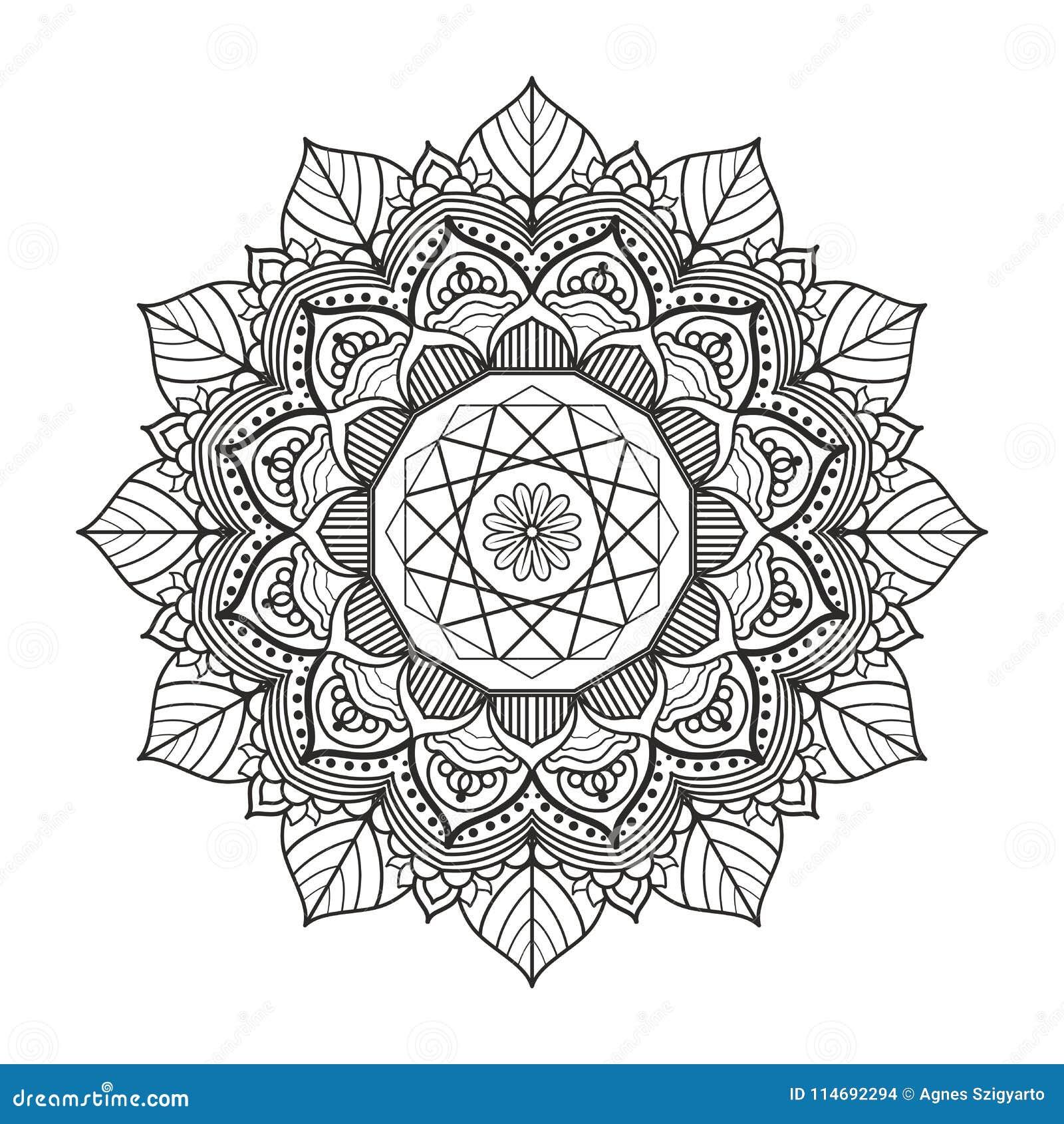 Beau Mandala Pour Livres De Coloriage Adultes Illustration