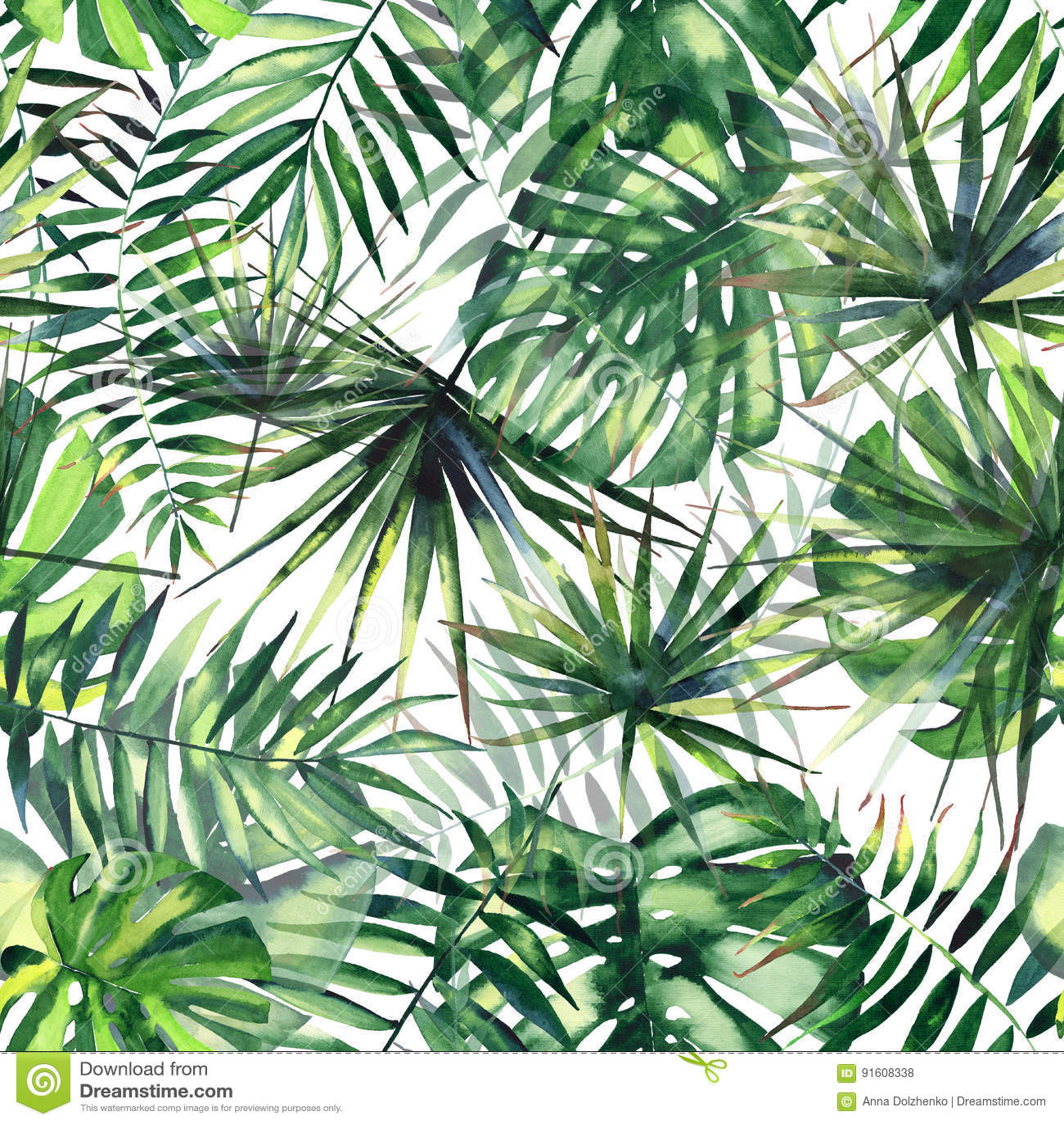 Beau modèle floral merveilleux tropical de fines herbes vert lumineux d été d Hawaï d une aquarelle tropicale de paumes