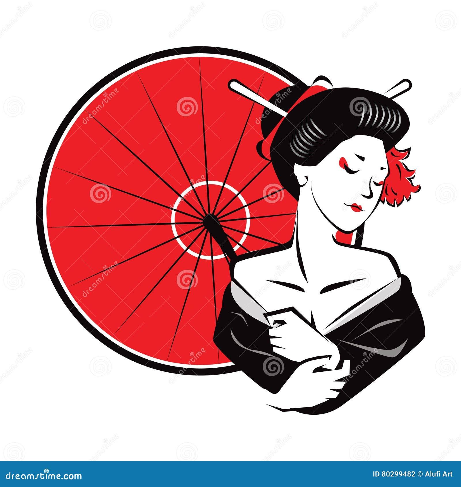Beau parapluie exotique moderne de rouge d usage de geisha de Japanesse