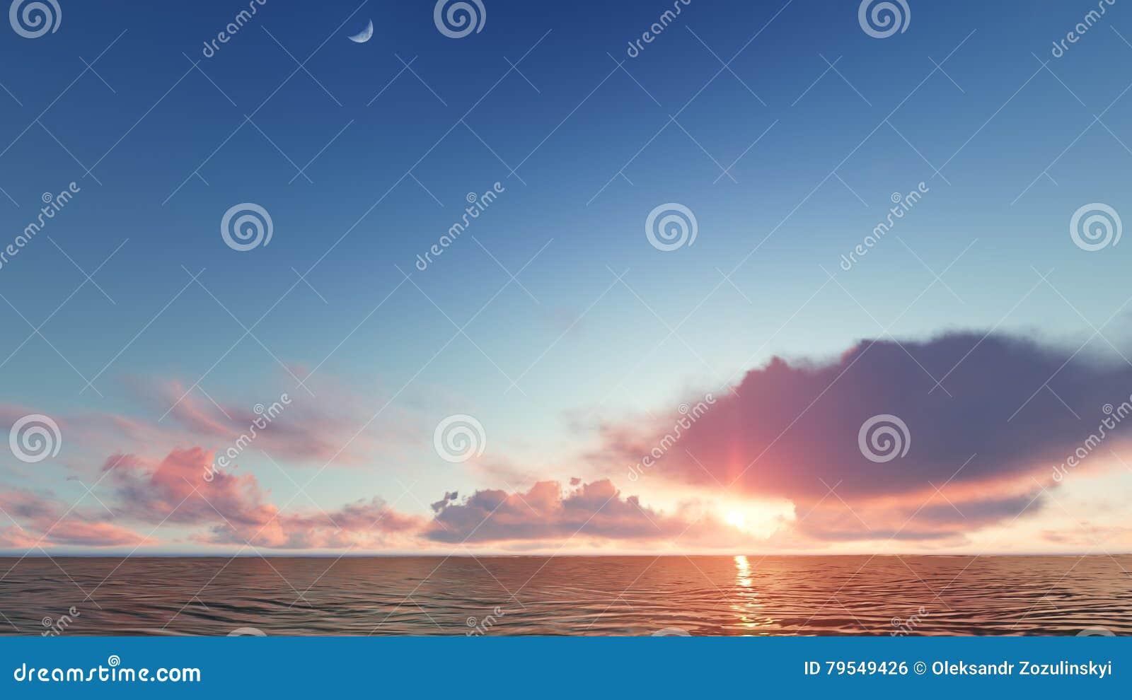 Beau paysage de flambage de coucher du soleil au rendu de la mer 3D