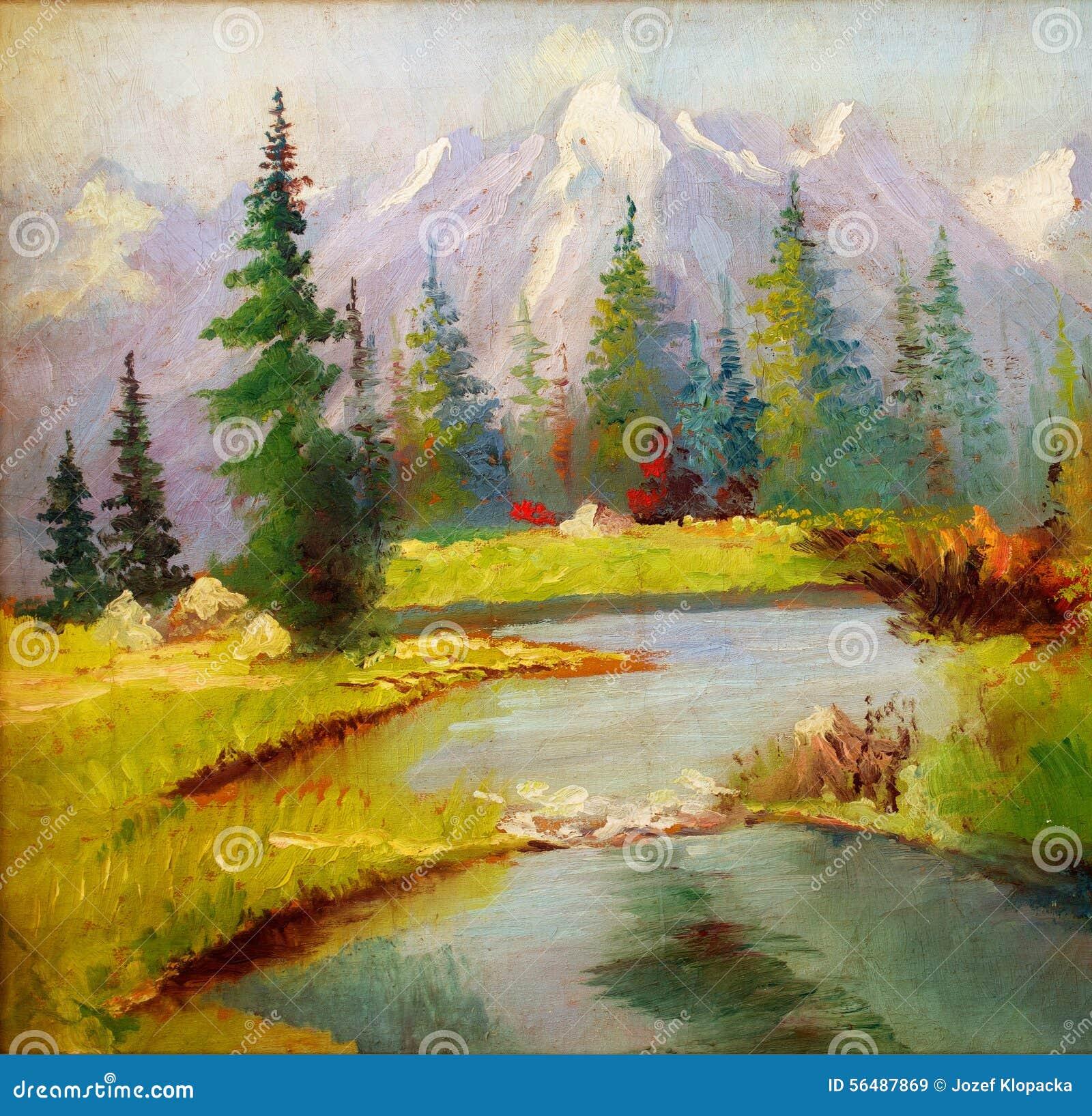 Beau paysage original de peinture à l huile sur la toile La neige a couvert des montagnes à l arrière-plan
