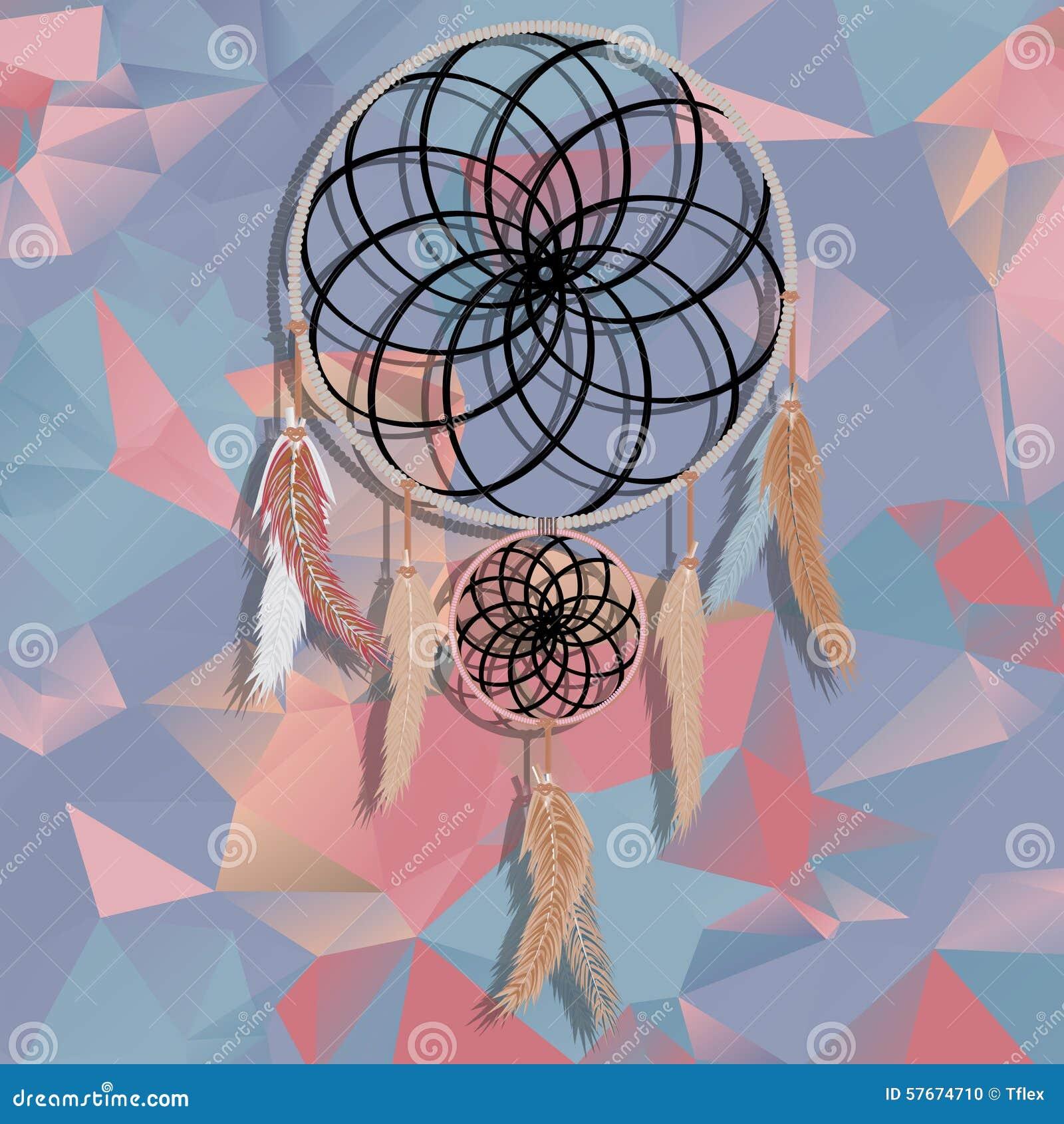Beau receveur rêveur sur le fond polygonal