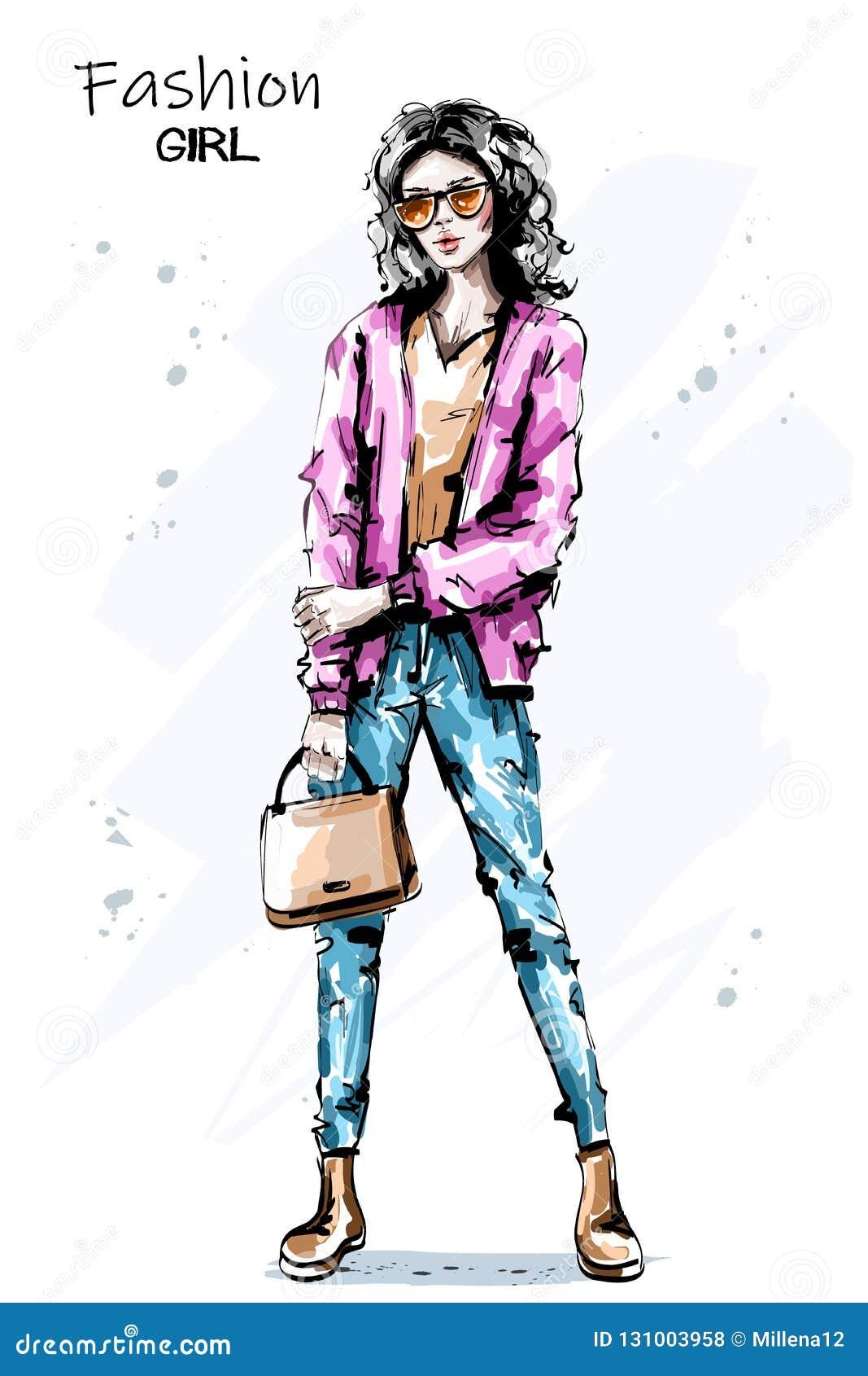 Beau sac tiré par la main de participation de jeune femme Fille élégante élégante dans des lunettes de soleil Équipement de femme