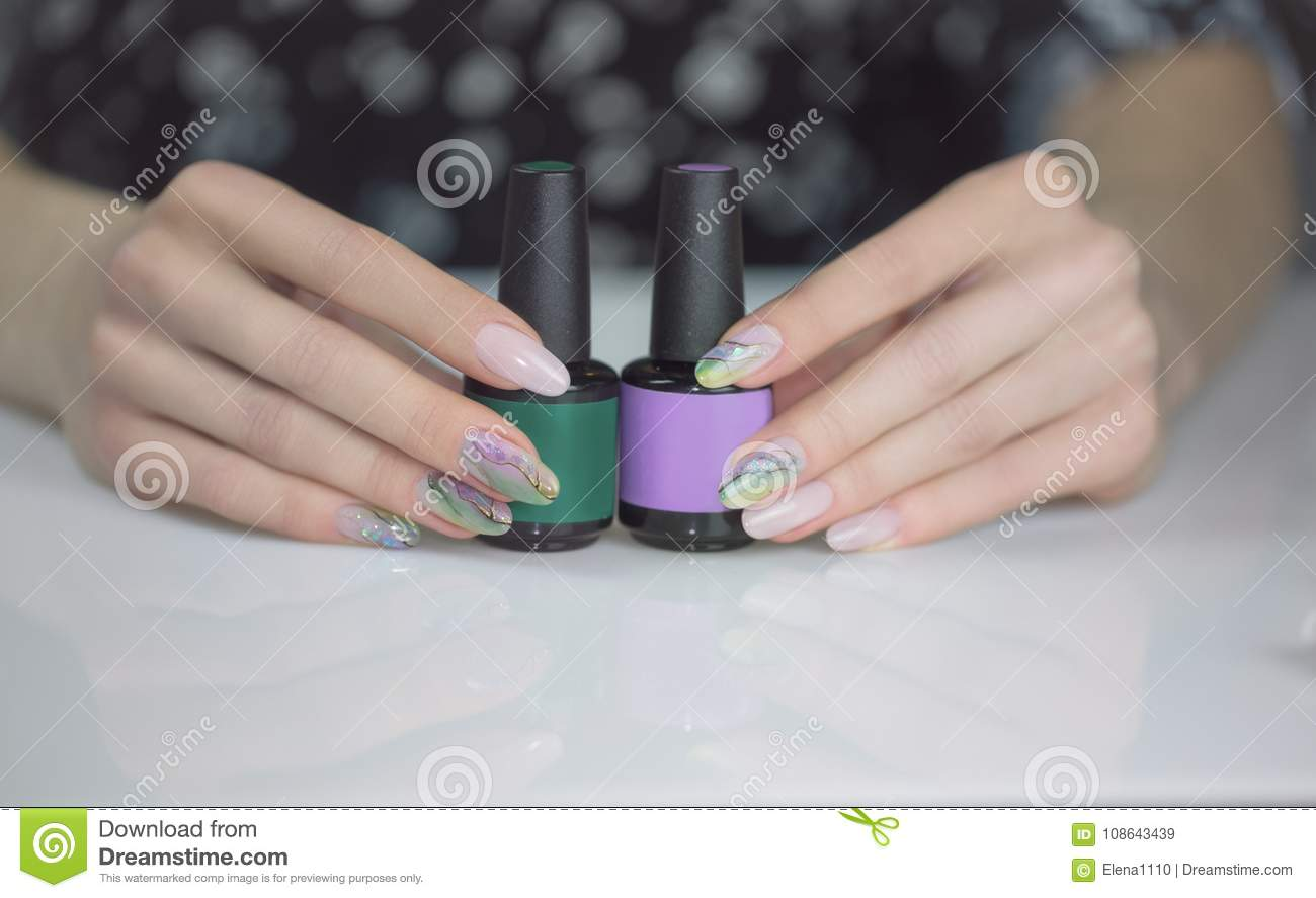 Beautiful Female Hands With Manicured Nails Stock Image - Image of ...