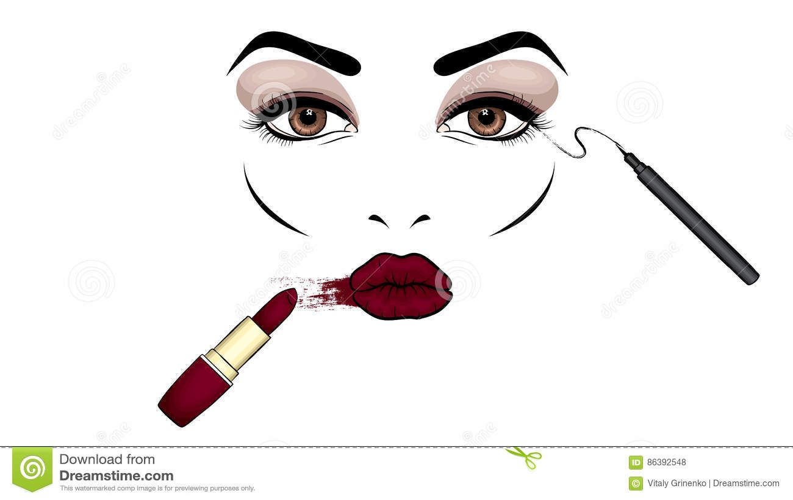 beau visage du s de femme avec le maquillage yeux et. Black Bedroom Furniture Sets. Home Design Ideas