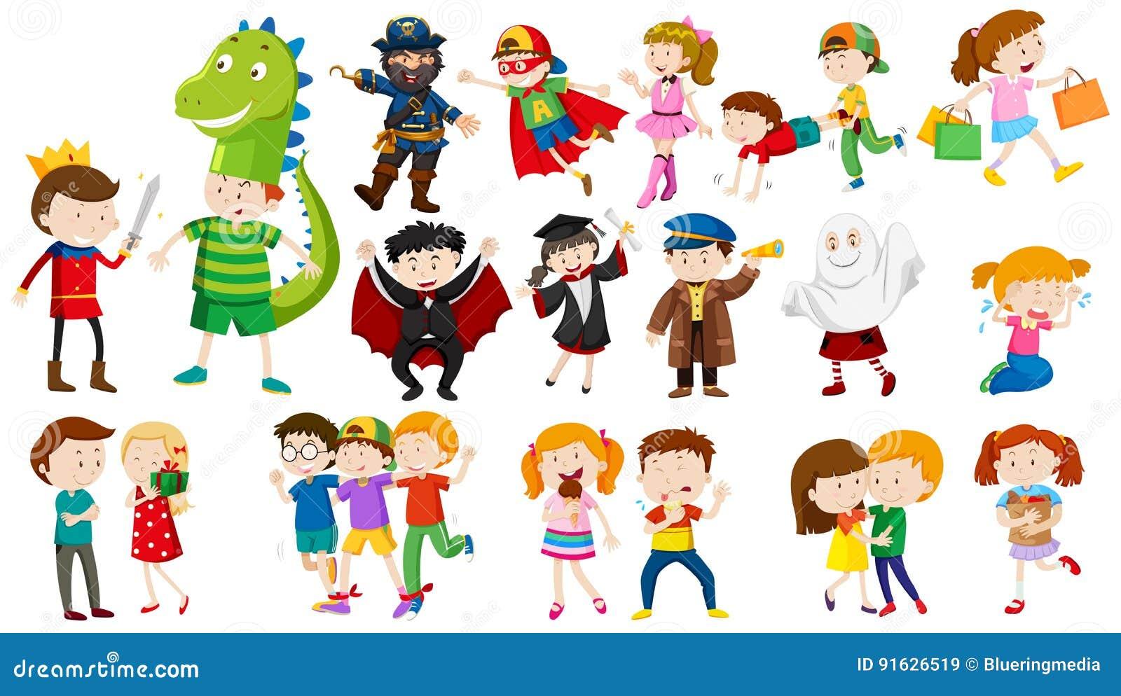 Beaucoup d enfants dans différents costumes