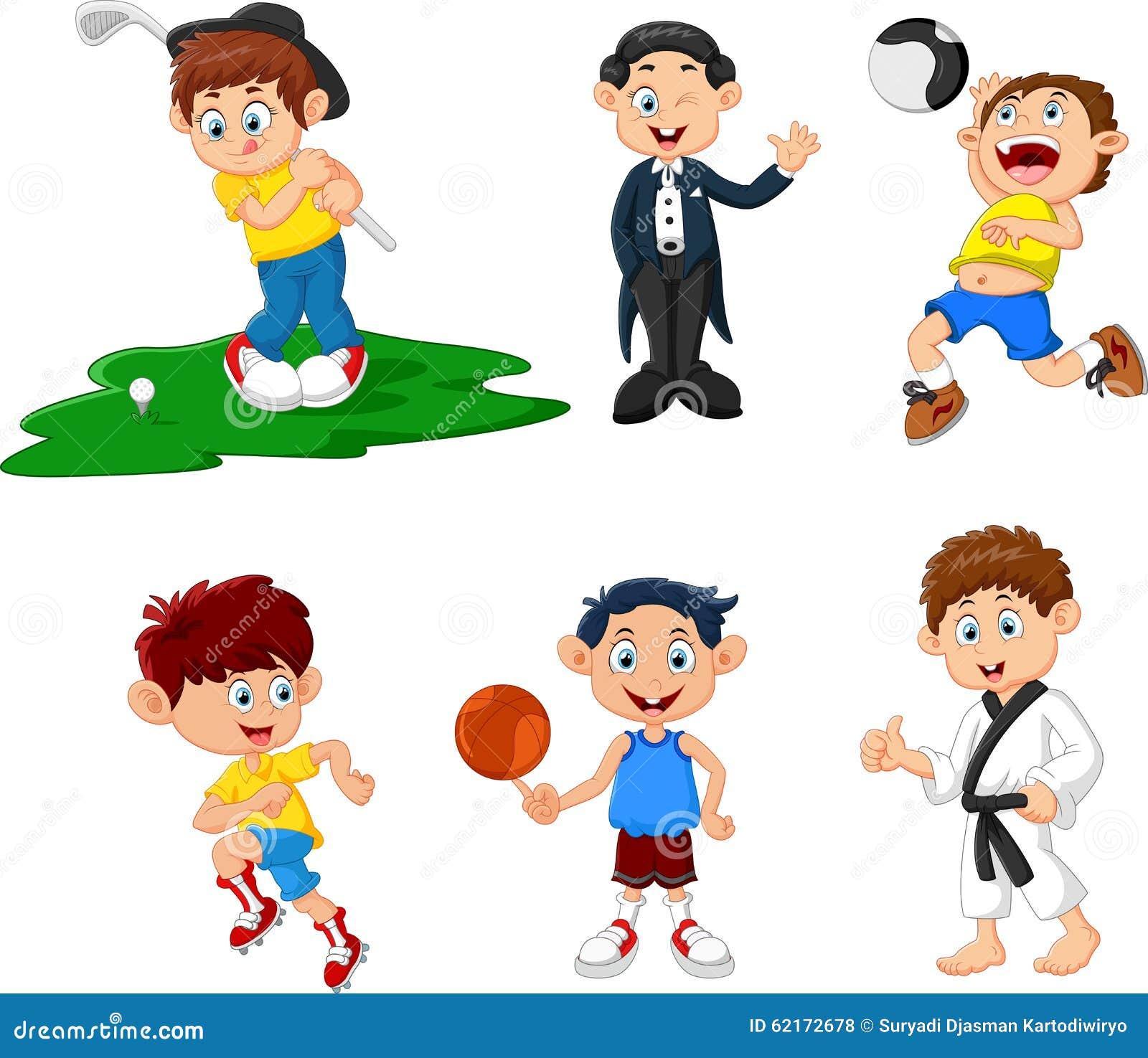 Beaucoup d enfants faisant la bande dessinée de sport