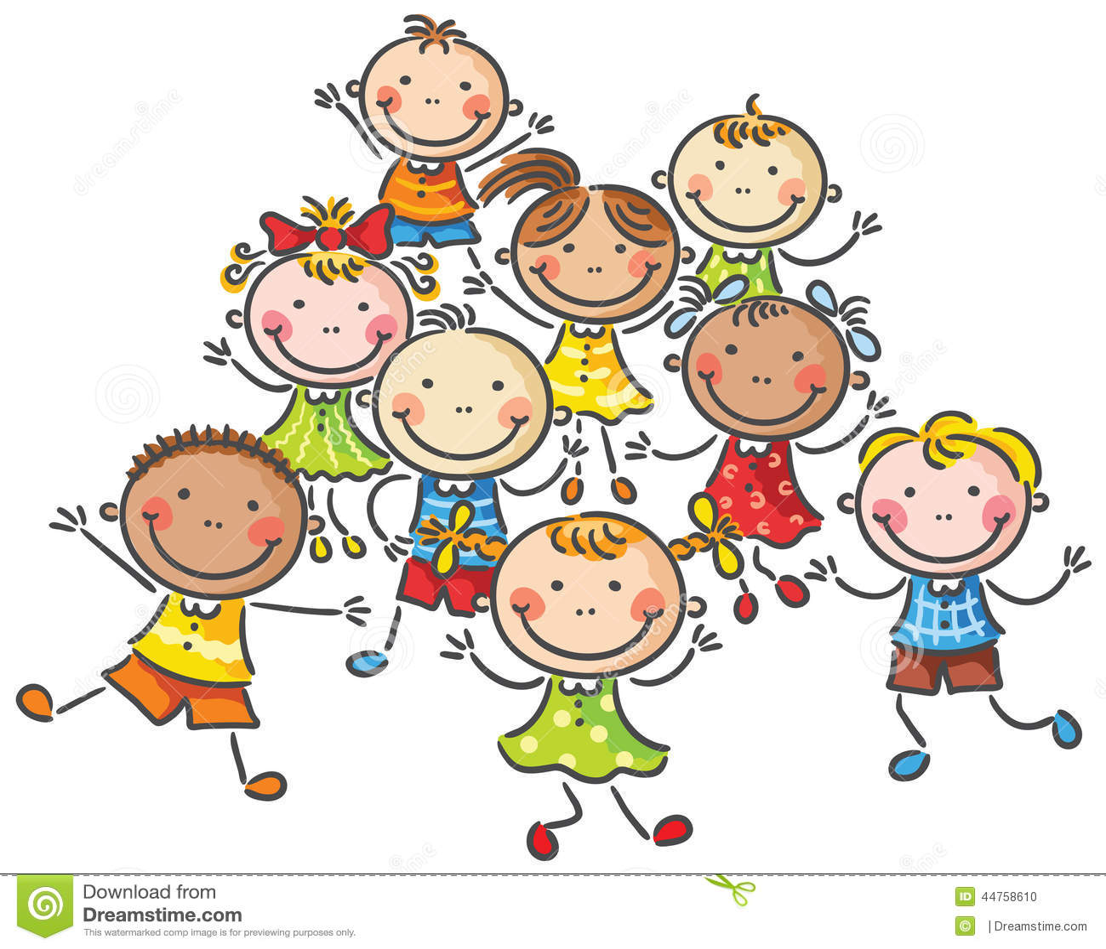 beaucoup d 39 enfants heureux illustration de vecteur illustration du sourire 44758610. Black Bedroom Furniture Sets. Home Design Ideas