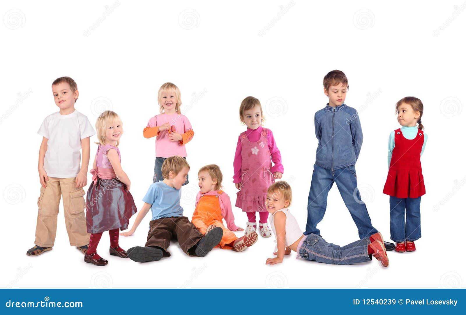 beaucoup d 39 enfants sur le blanc collage images libres de droits image 12540239. Black Bedroom Furniture Sets. Home Design Ideas