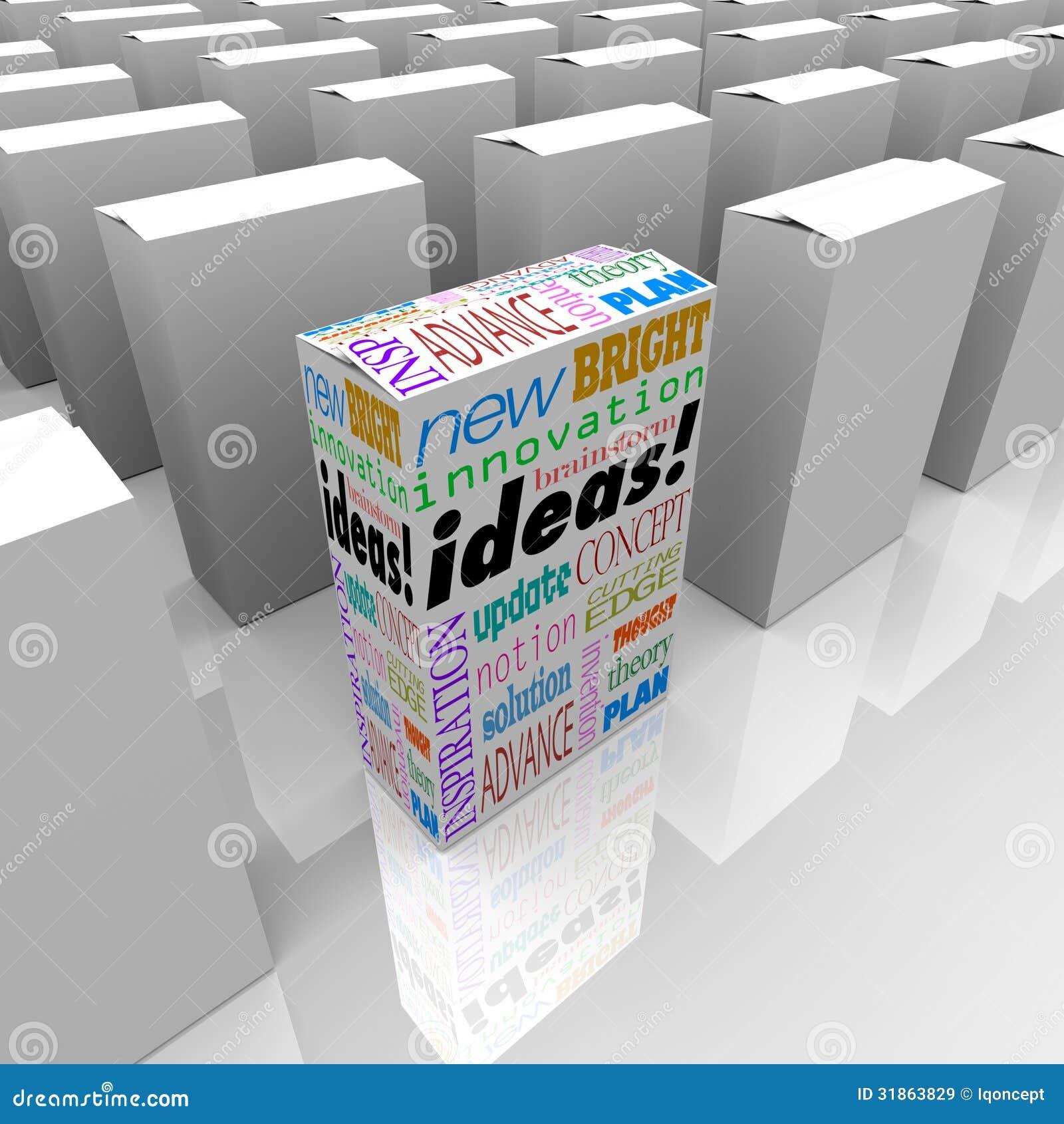 Beaucoup de boîtes d idées - une boîte différente de produit se tient