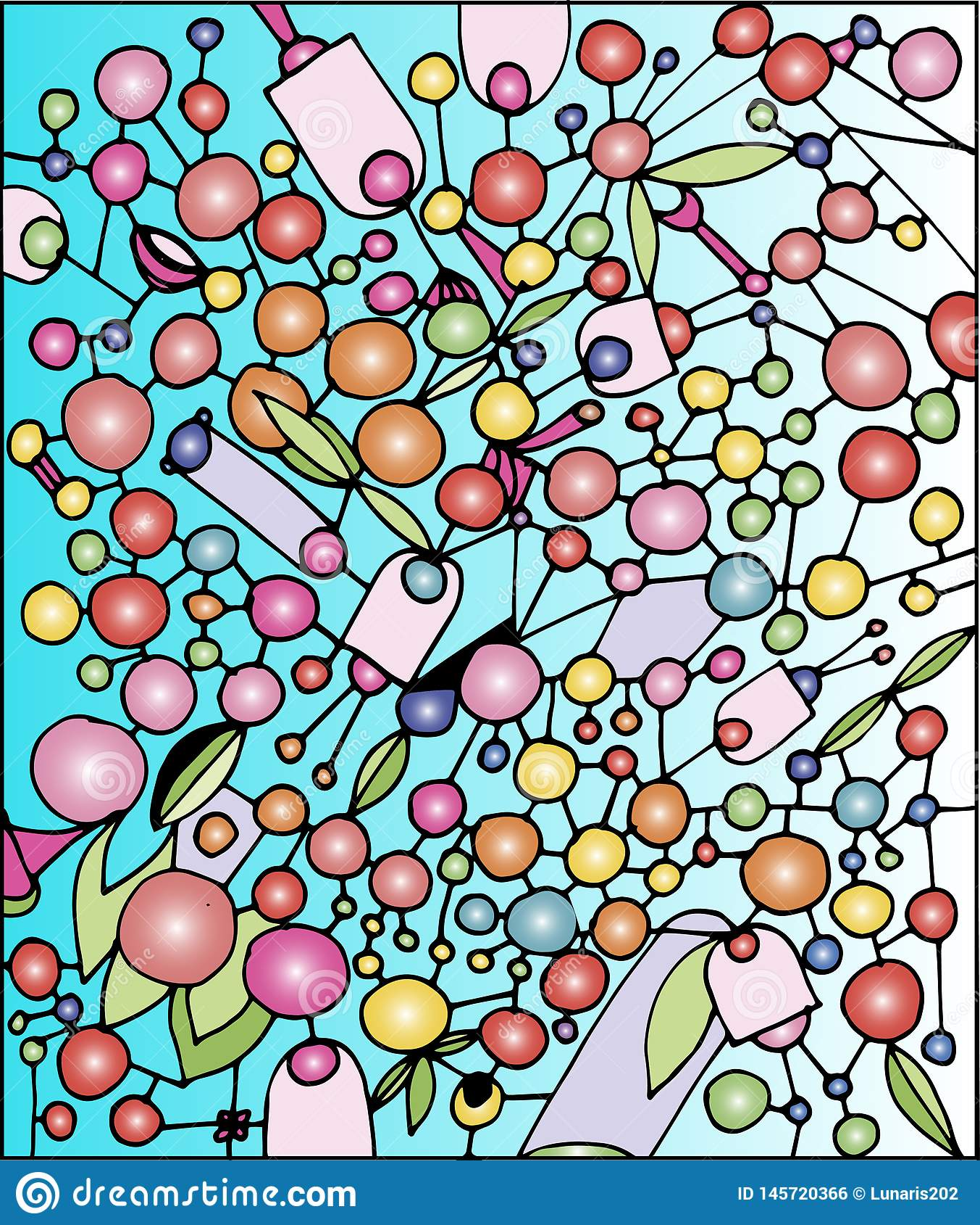 Beaucoup de boules colorées sur un fond bleu