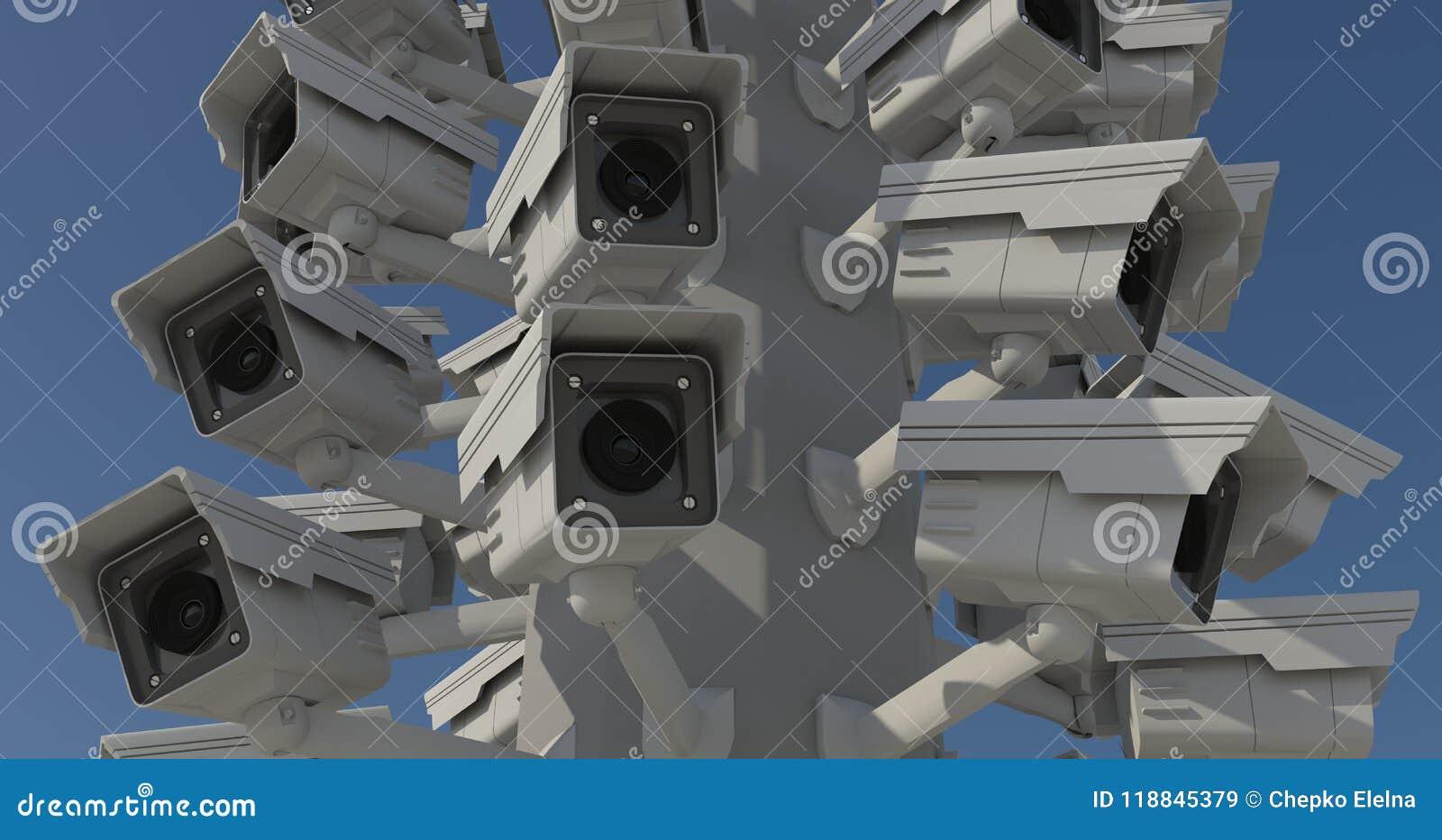 Beaucoup de caméras de sécurité sur le pilier de ville, frère observant y