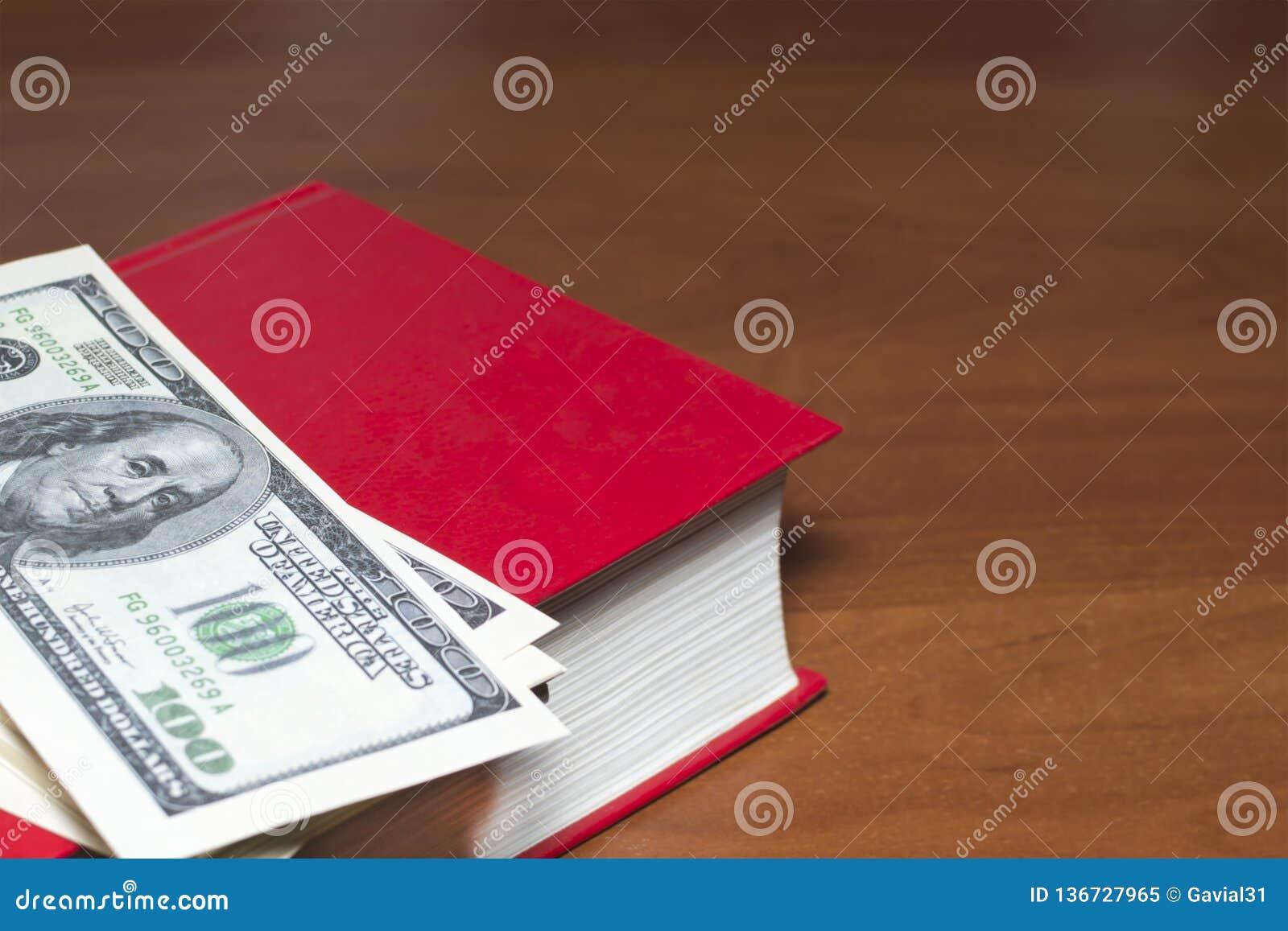 Beaucoup de dollars sur un livre rouge Maquette Copiez l espace
