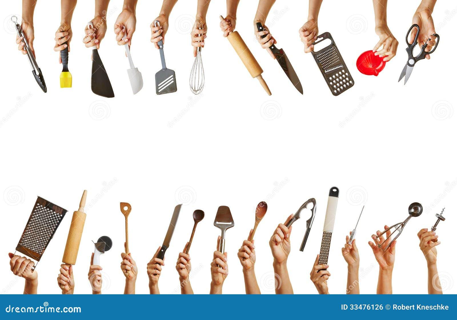 Beaucoup de mains tenant diff rents outils de cuisine photo stock image du cuisine fond 33476126 - Outil de cuisine liste ...