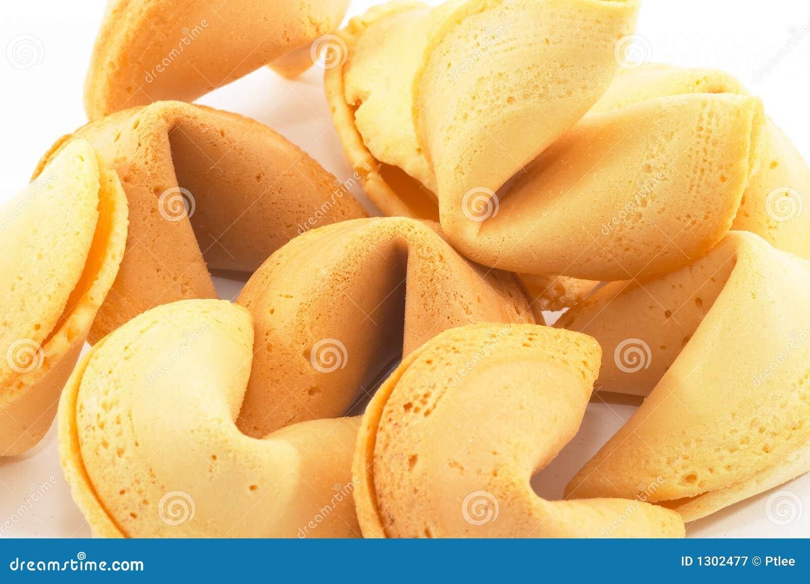 Beaucoup plan rapproché chinois de biscuit de fortune