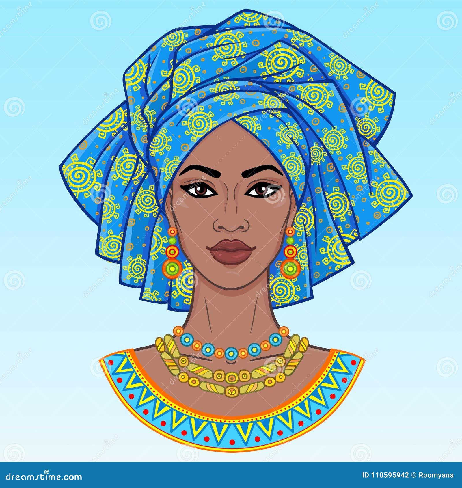 Dessin De Femme Africaine beauté africaine un portrait d'animation de la jeune femme de