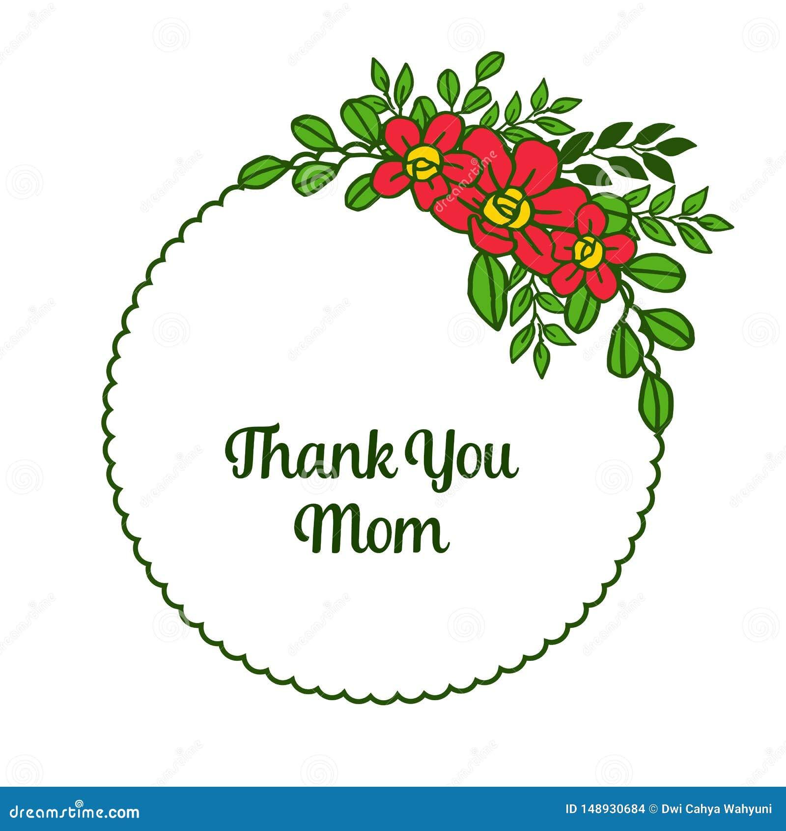 Beaut? d illustration de vecteur la diverse du cadre orange de fleur pour la carte vous remercient maman
