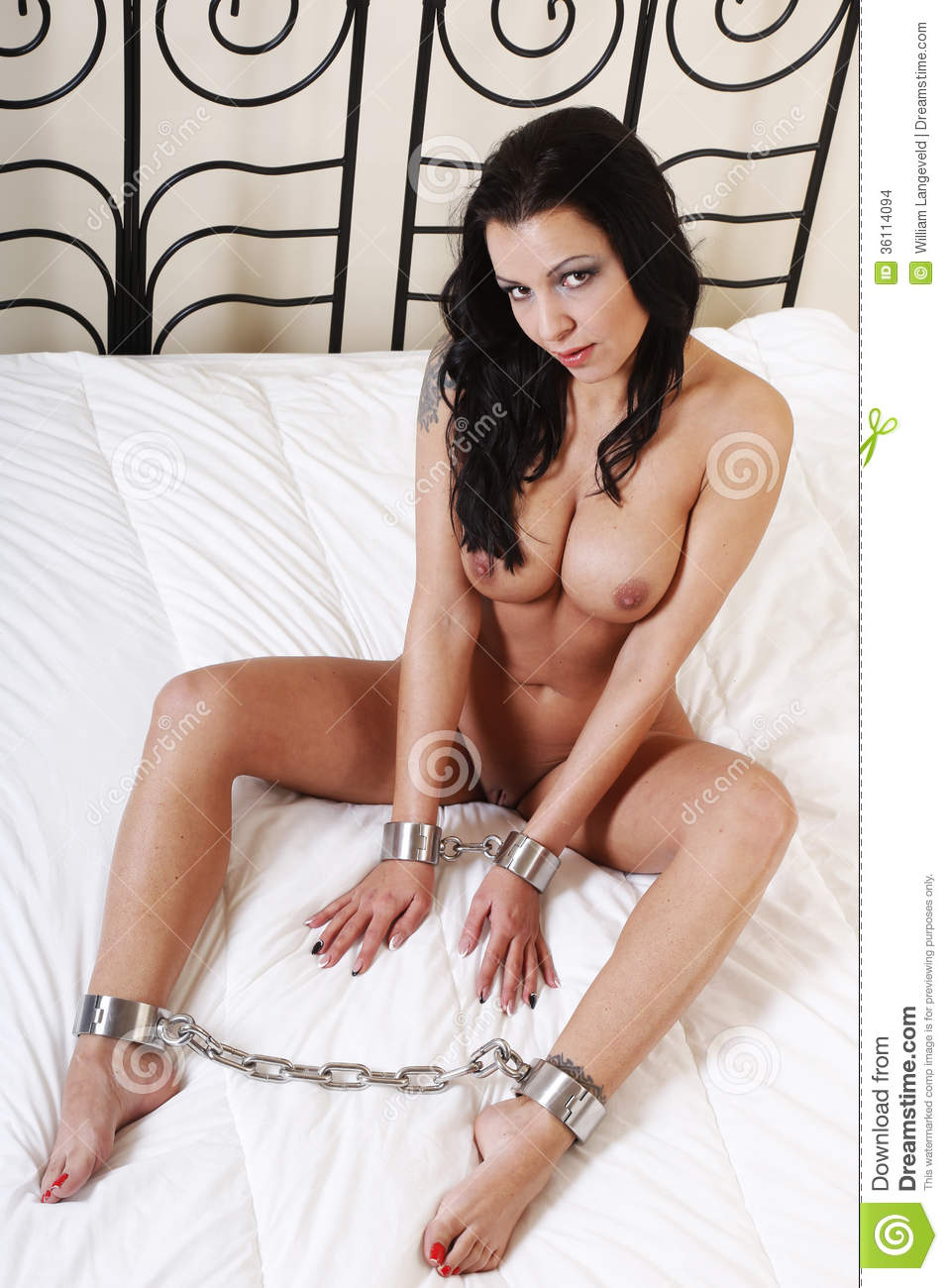 Beautful Nude Or Naked Woman Handcuffed Stock Photo -5924