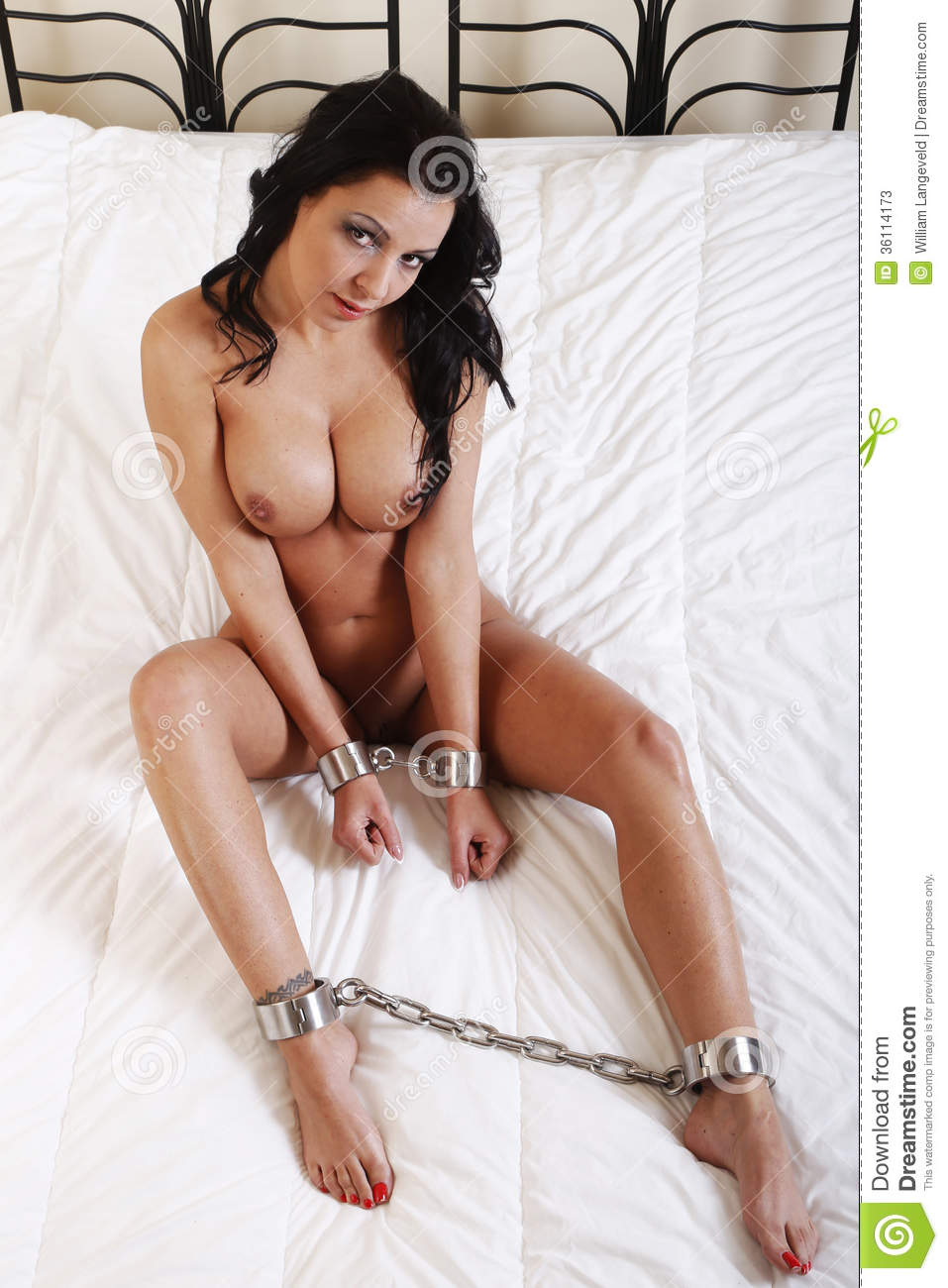 Beautful Nude Or Naked Woman Handcuffed Stock Image -2880