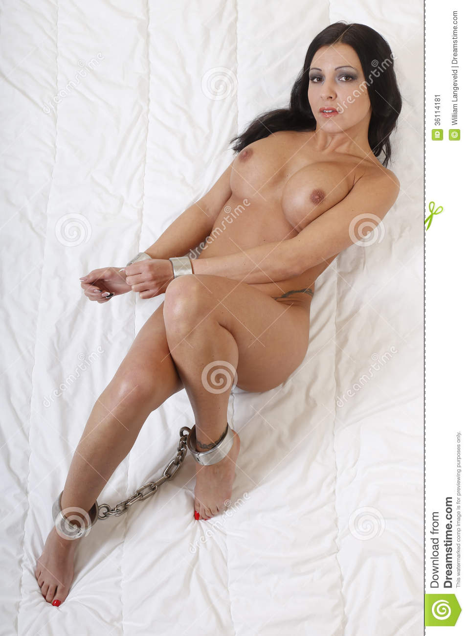 Beautful Nude Or Naked Woman Handcuffed Stock Image -6996