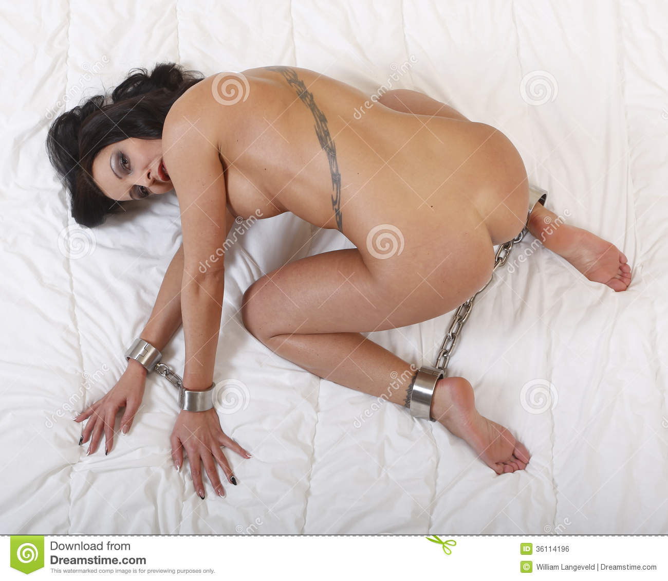 Beautful Nude Or Naked Woman Handcuffed Stock Photo -4881