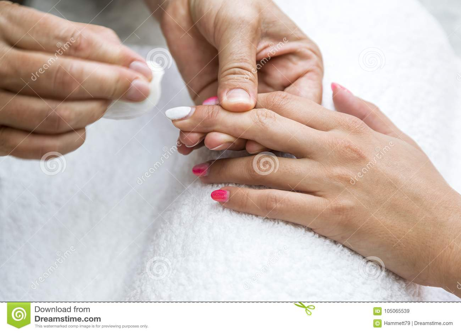 Beautician Nail Treatment.Beautiful Hands Of Woman. Stock Image ...