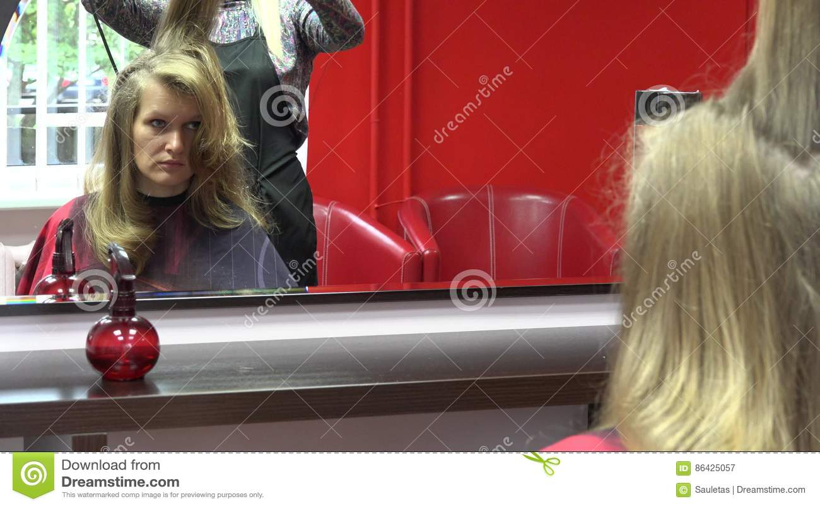 Beautician Drying Girl Hair After New Haircut At Parlor 4k Stock