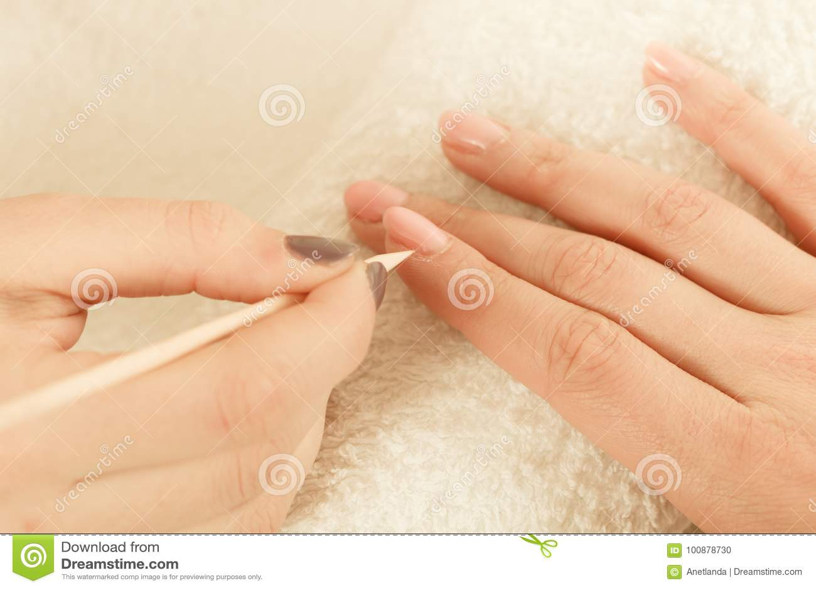 Beautician Preparing Nails Before Manicure, Pushing Back Cuticles ...