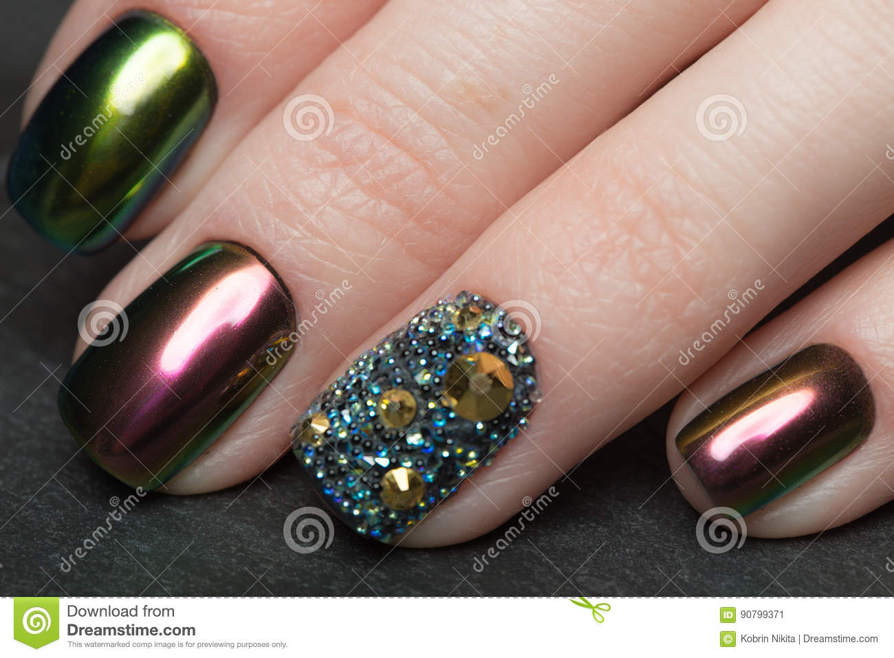 Beautifil Colorful Manicure With Rhinestone Nail Design Close Up