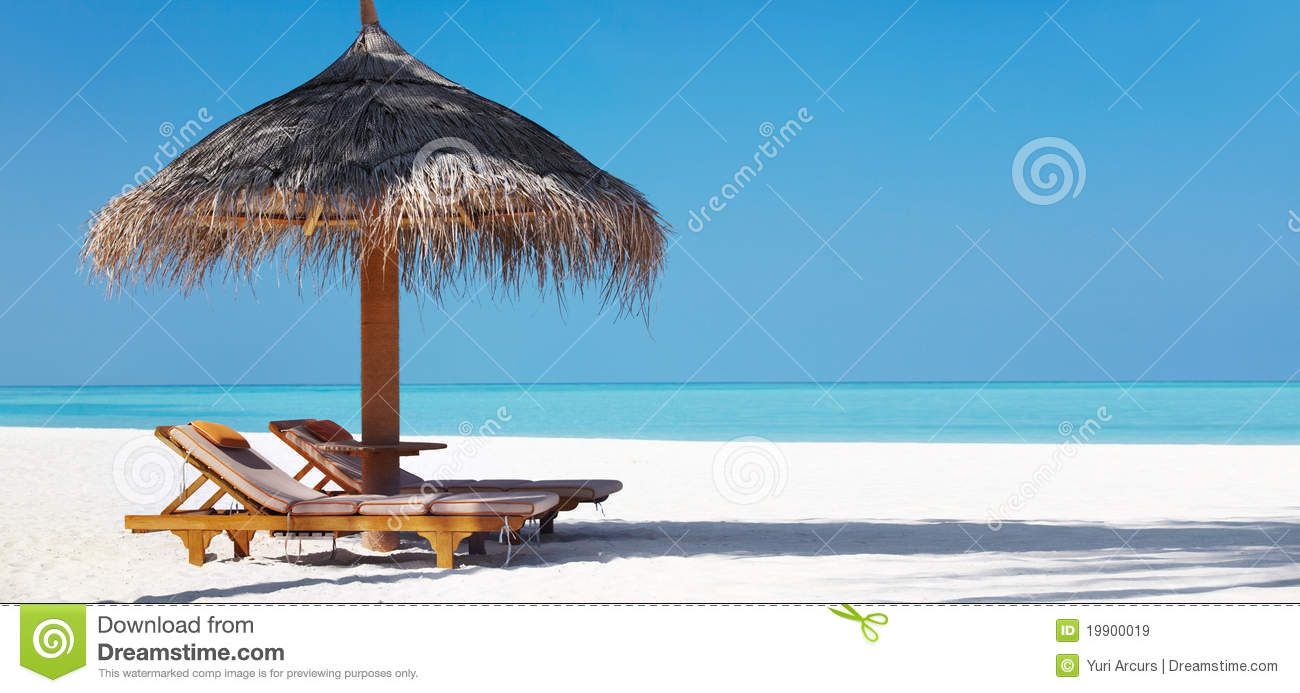 Beach with chairs - Beautifu Beach With Chairs And Umbrella Royalty Free Stock Images