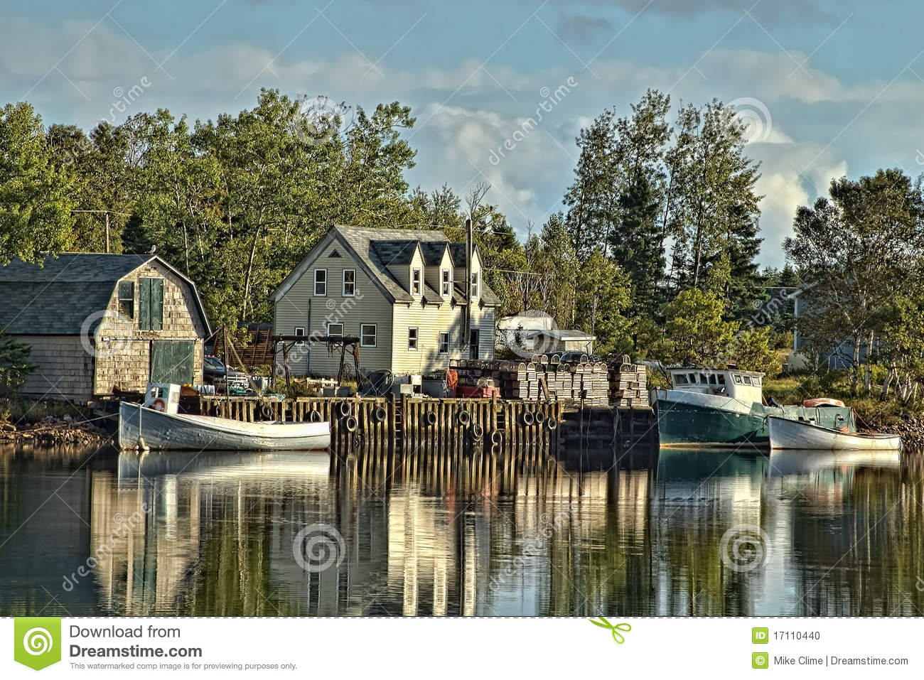 Beautifuful Lobster Boat And Old Wooden Traps Stock Photo - Image: 17110440