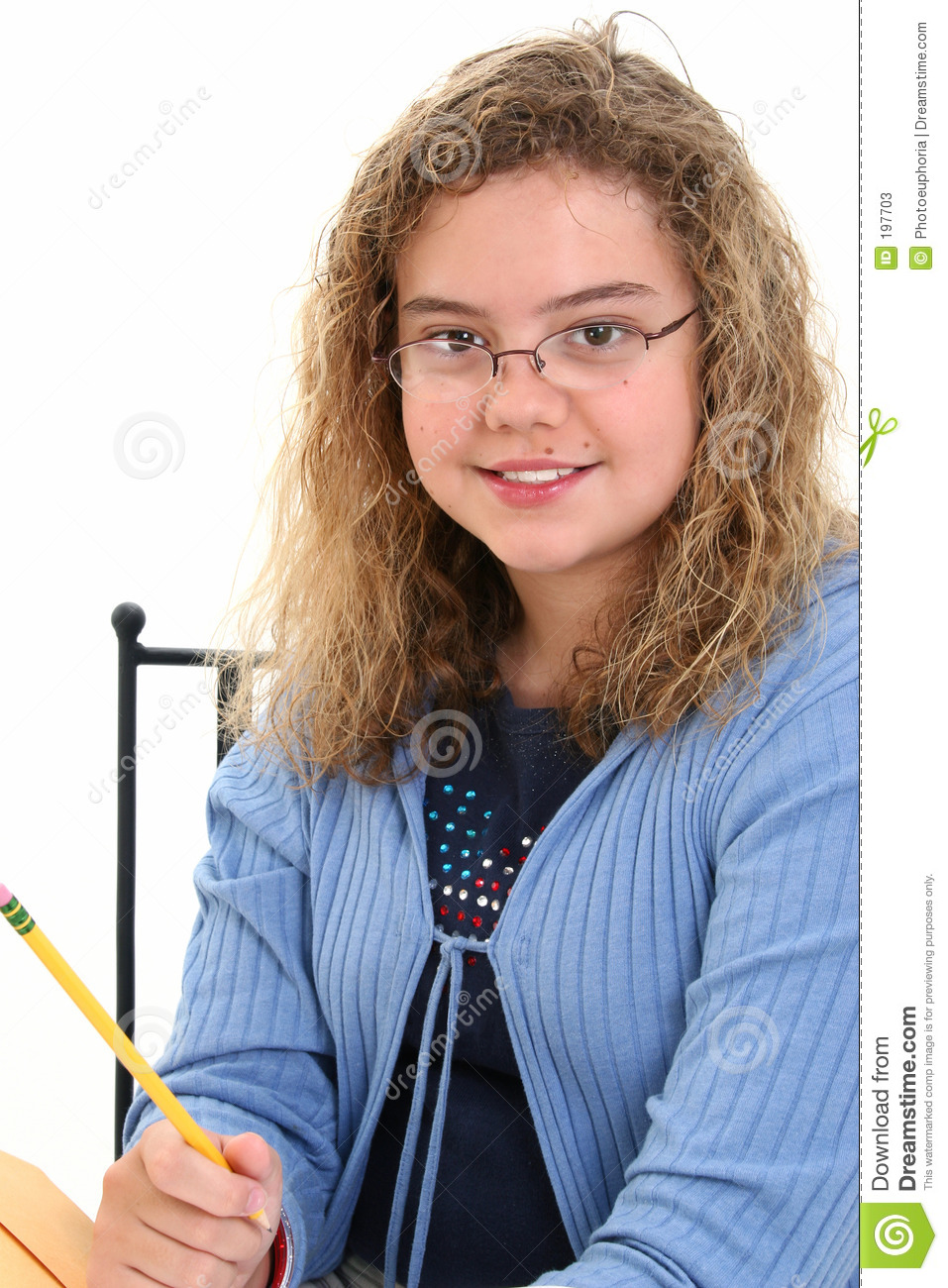 Beautiful 12 Year Old Girl Holding Pencil Stock Photos