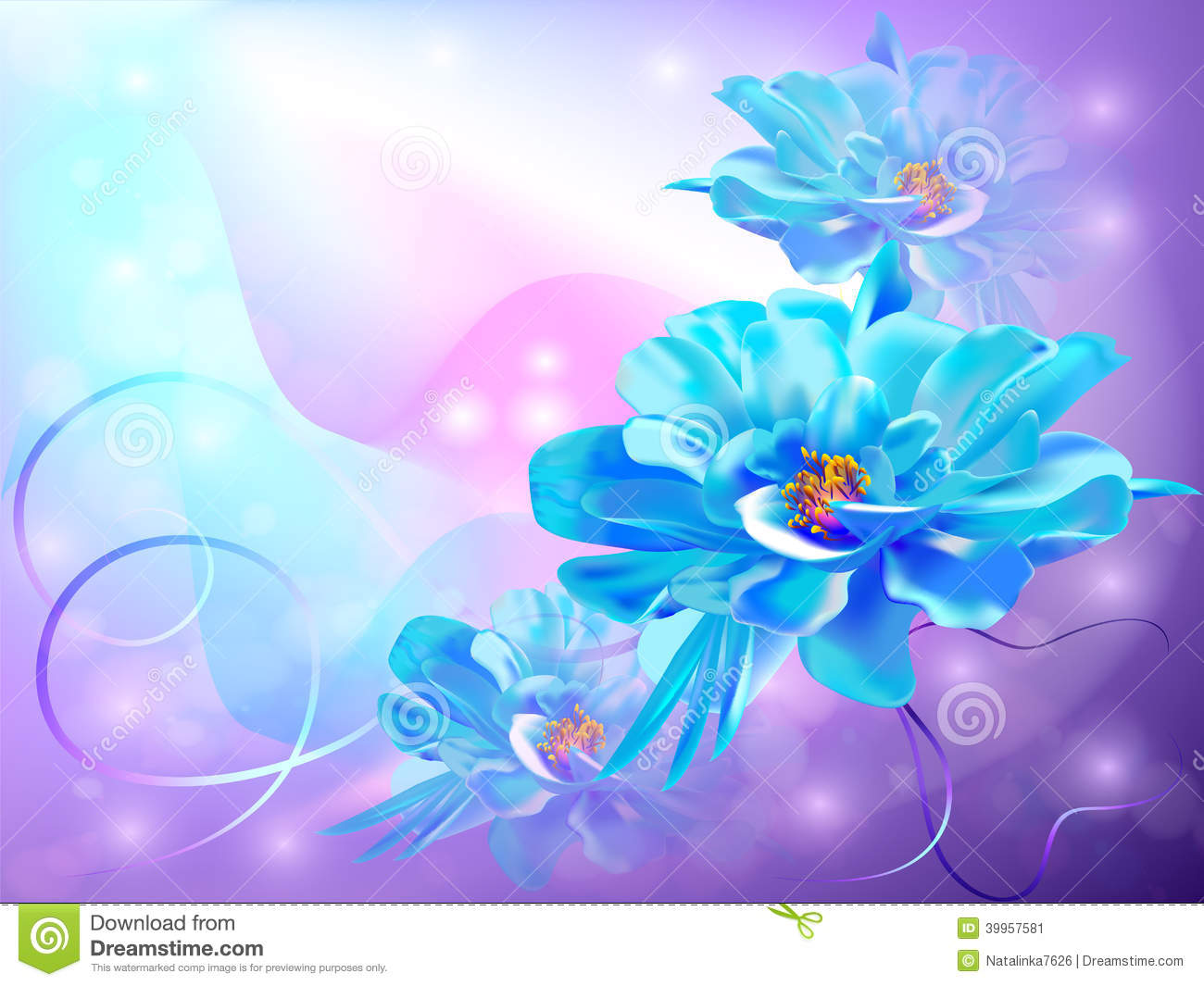 Beautiful Abstract Background With Flowers Illustration 39957581