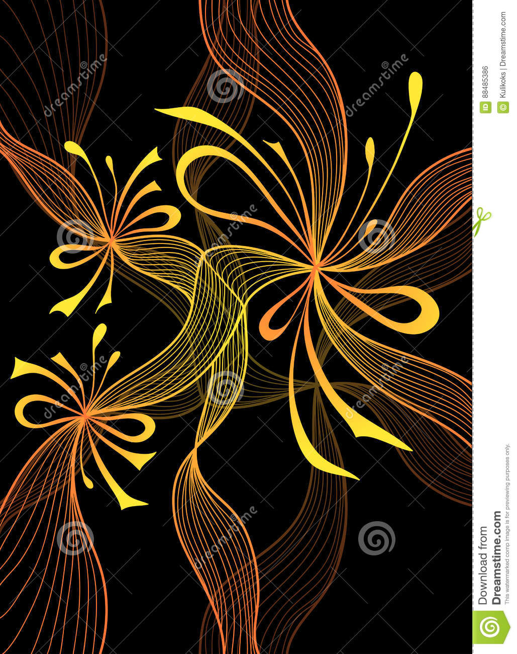 Beautiful Abstract Background With Lace Flower Bows Gold Orange On Black