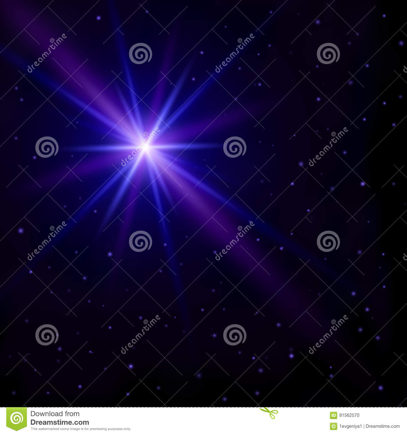 Beautiful abstract background. The night sky with many small stars and one big star flash with glowing blue and purple rays. Vecto
