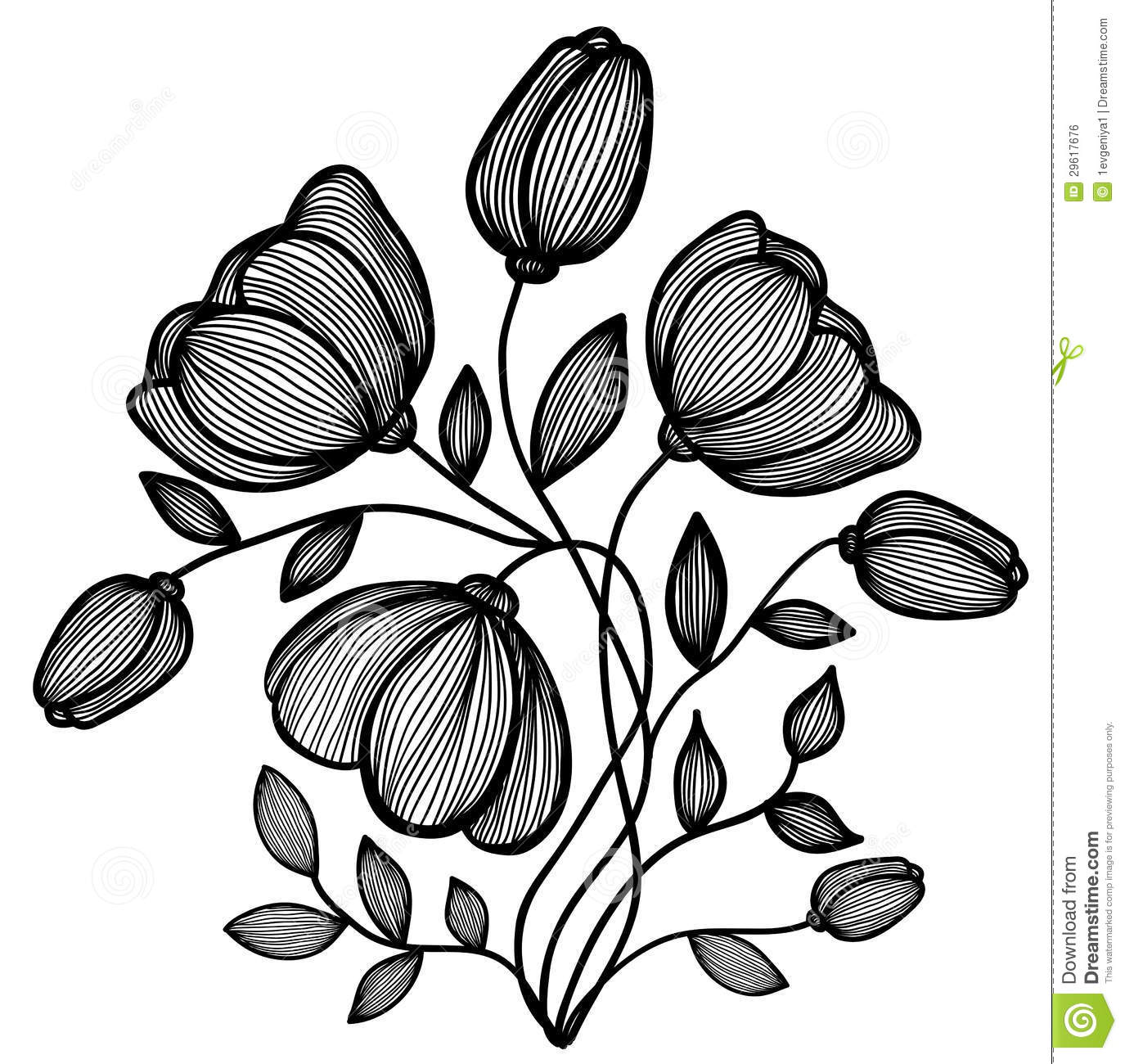 beautiful abstract black and white flower of the lines single isolated on white