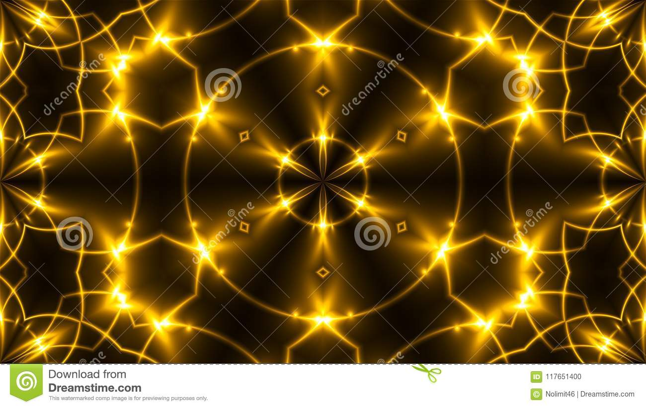 Beautiful abstract kaleidoscope - fractal golden light, 3d render backdrop, computer generating background