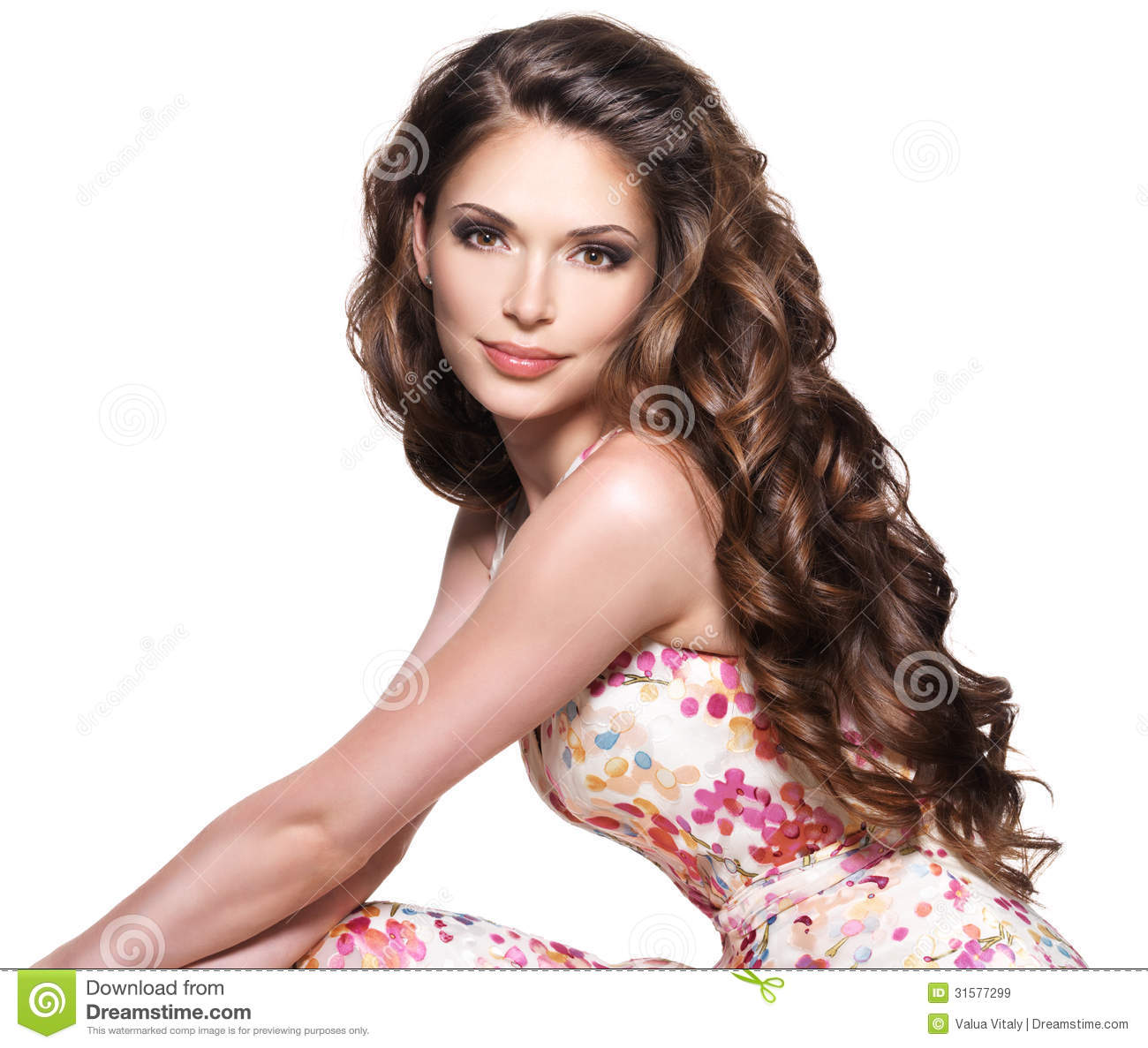 Beautiful Adult Woman With Long Brown Curly Hair Stock Image
