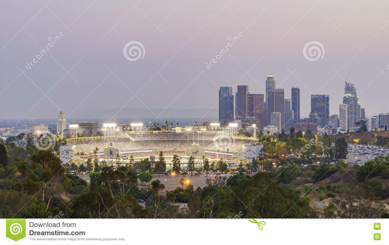 Beautiful aerial view of dodger stadium editorial for Beautiful in los angeles