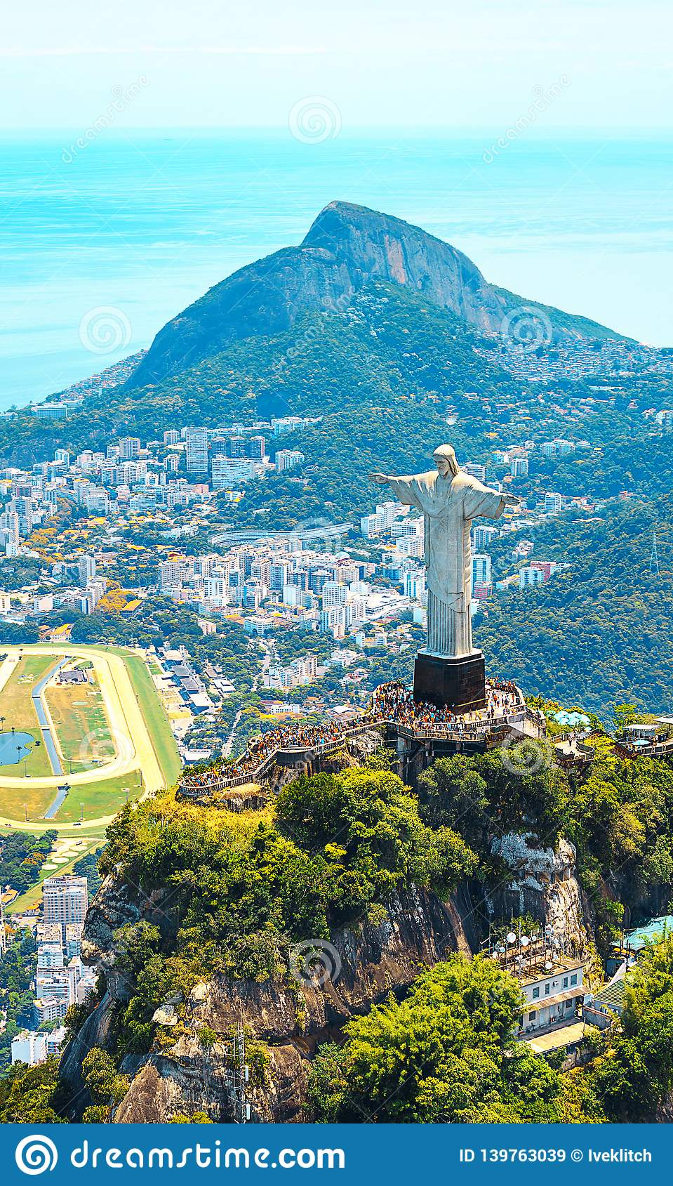Beautiful Aerial view of Rio de Janeiro with Christ Redeemer and Corcovado Mountain. Brazil. Latin America