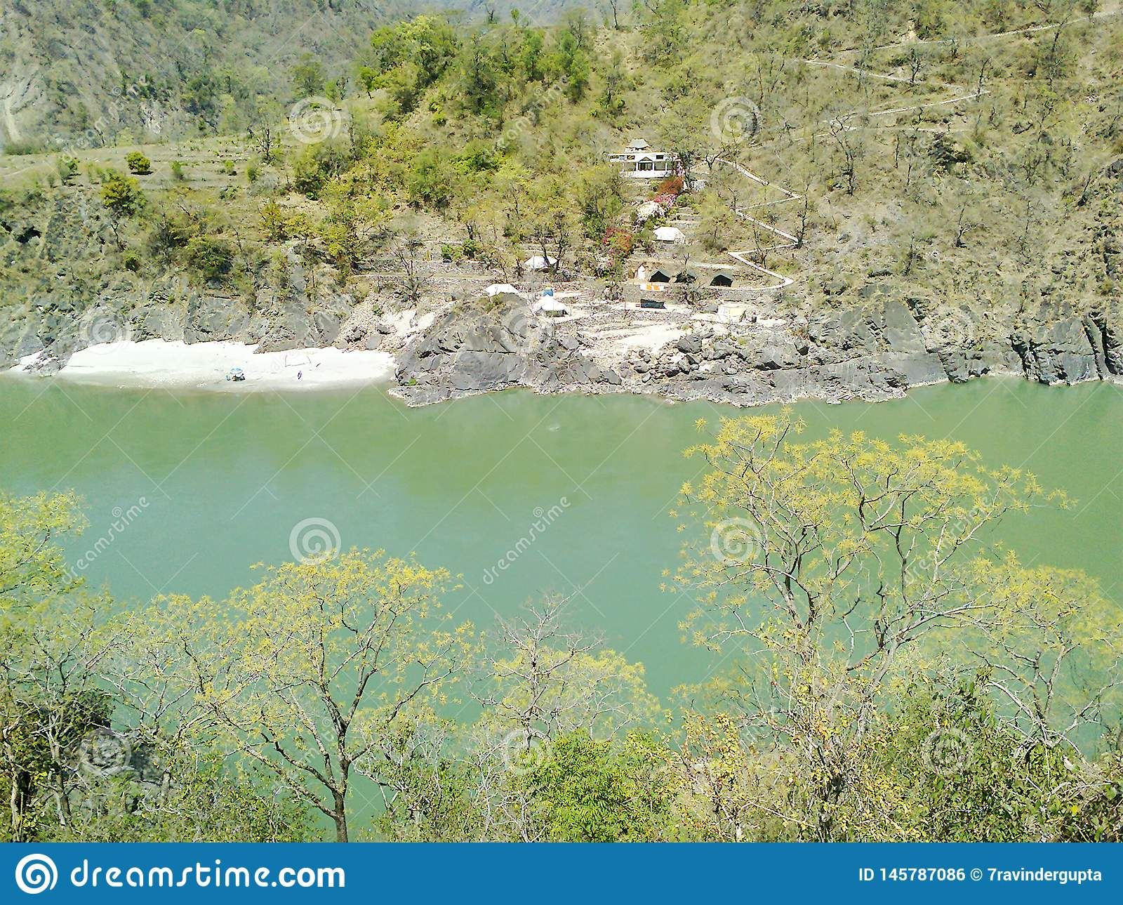 Arial View of River and Mountain